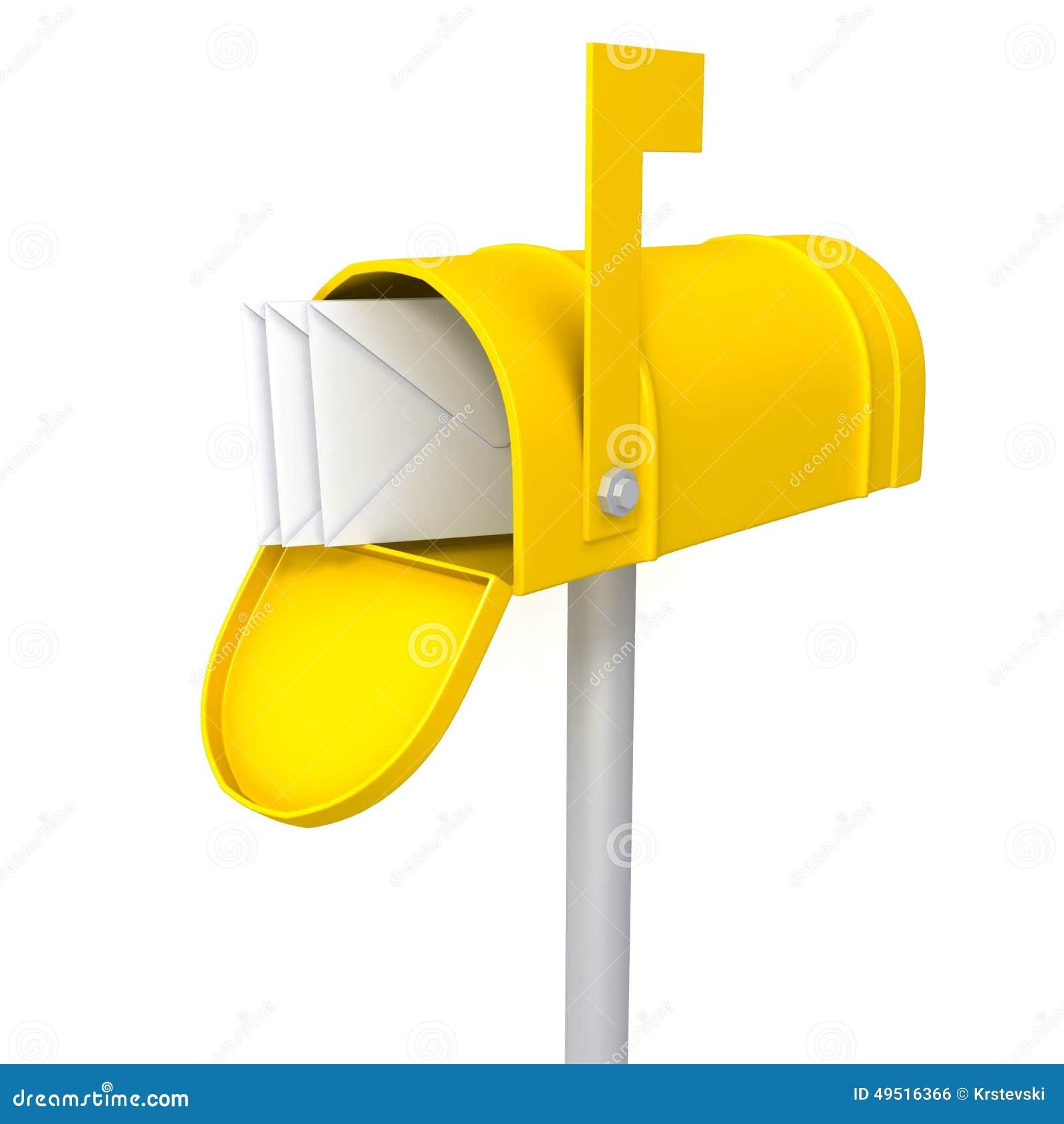 bo te aux lettres jaune avec l 39 illustration des enveloppes 3d illustration stock illustration. Black Bedroom Furniture Sets. Home Design Ideas
