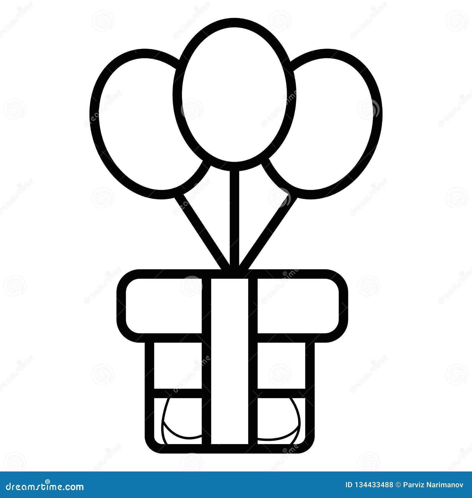 Boîte-cadeau avec l icône de ballons