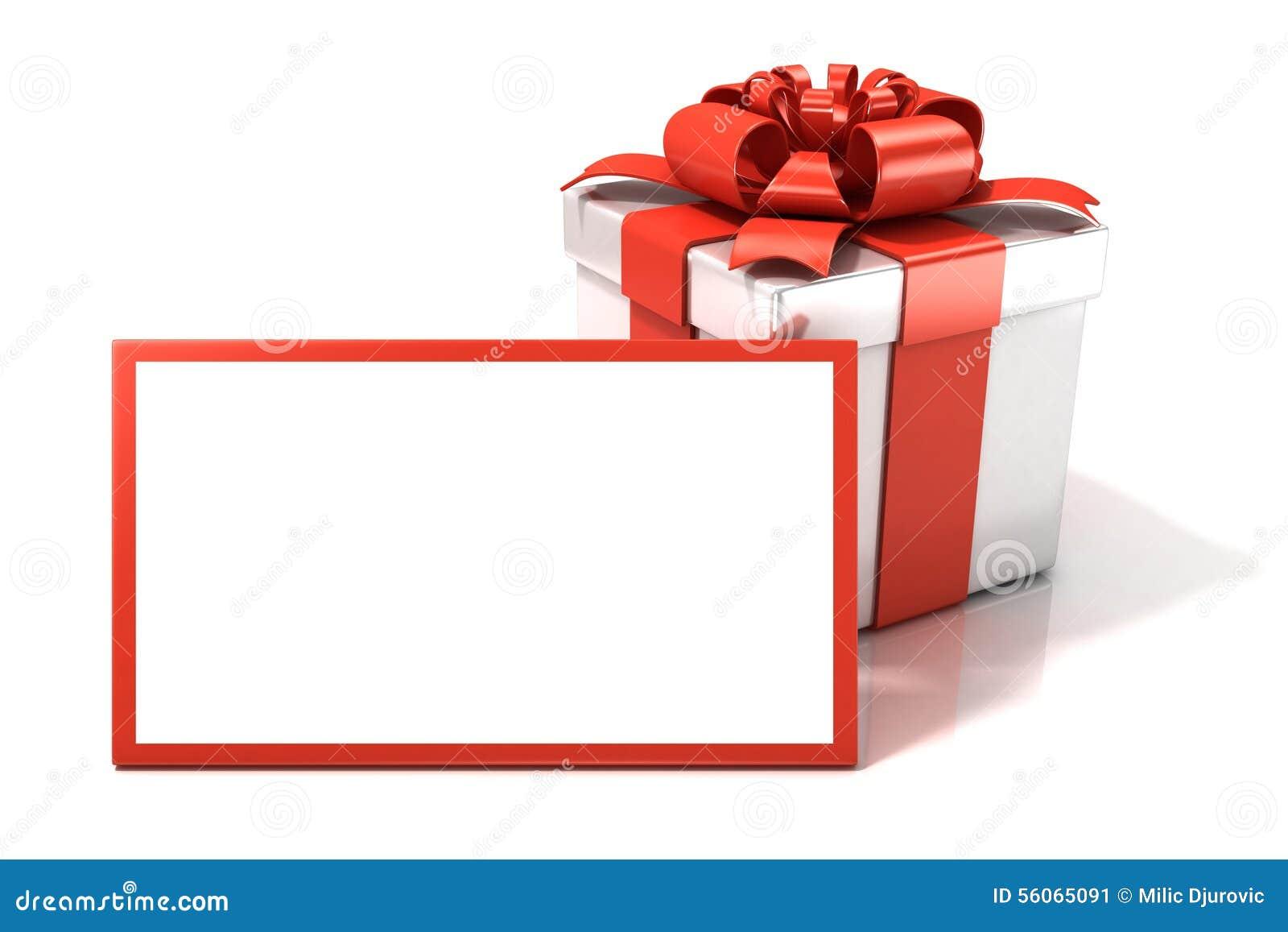bo te cadeau avec la carte cadeaux vierge illustration. Black Bedroom Furniture Sets. Home Design Ideas