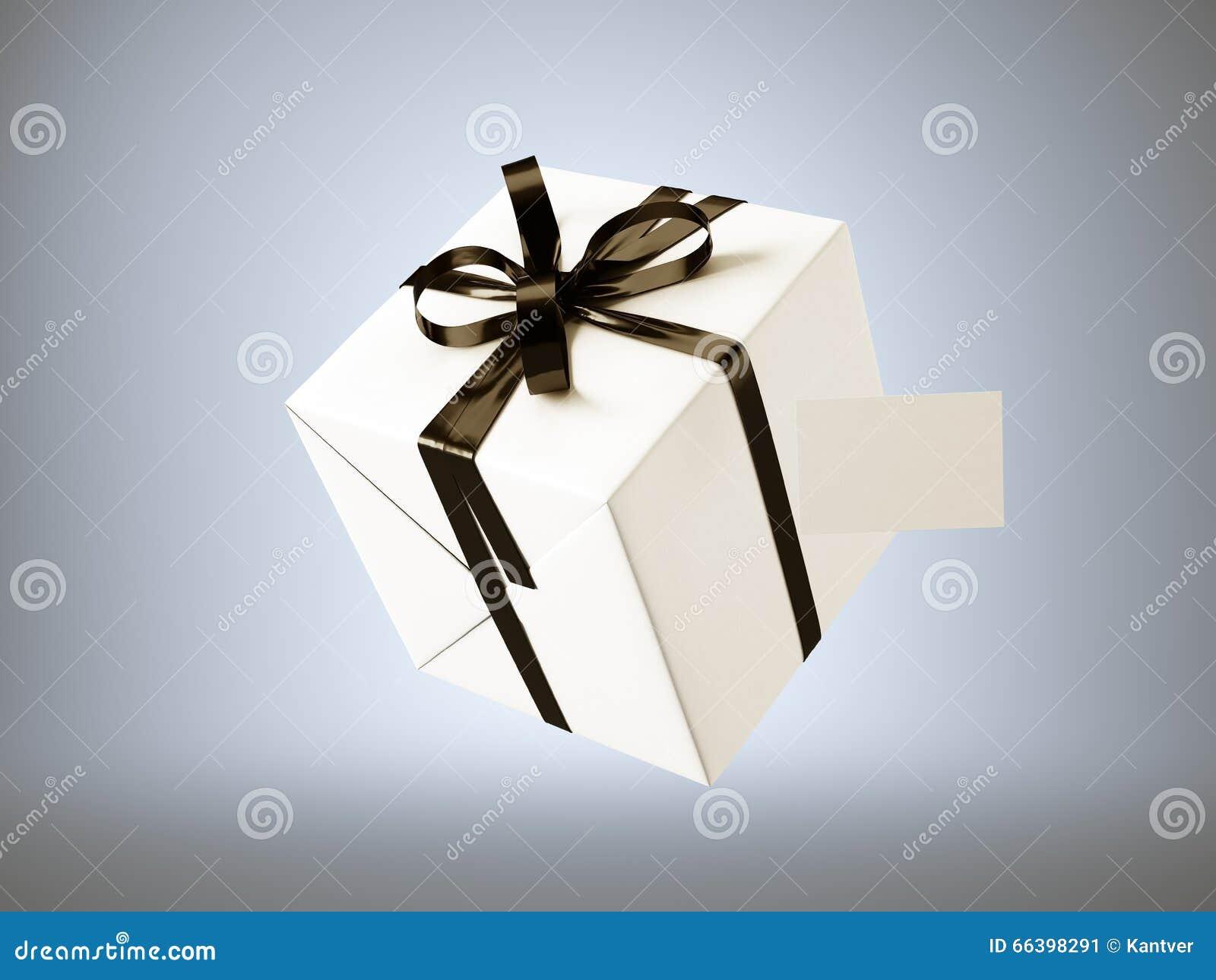Boite Cadeau Blanc Avec Larc Noir De Ruban Et La Carte Visite Professionnelle Vierge Disolement Sur Le Gris