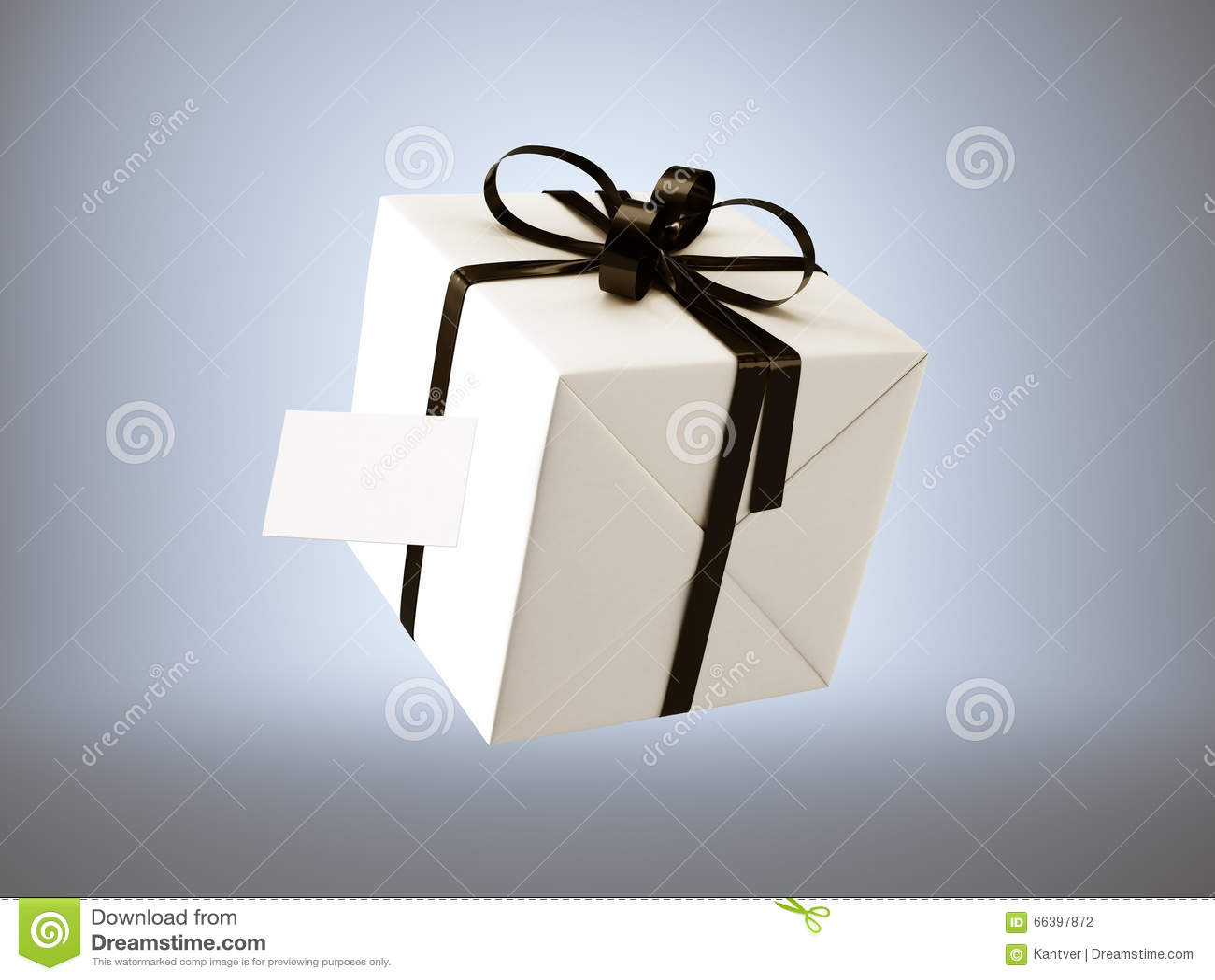 Boite Cadeau Blanc Avec Larc Noir De Ruban Et La Carte Visite Professionnelle Vierge Disolement Sur Le Gris 3d Rendent