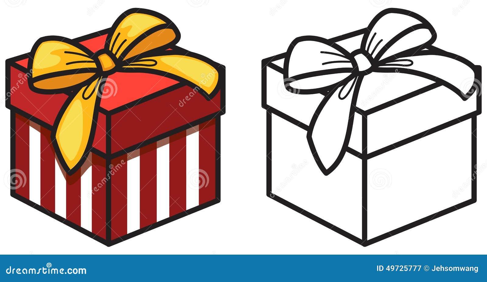 Boîte De Cadeau Le Jour De Noël Clip Art: Boîte-cadeau Coloré Et Noir Et Blanc Pour Livre De