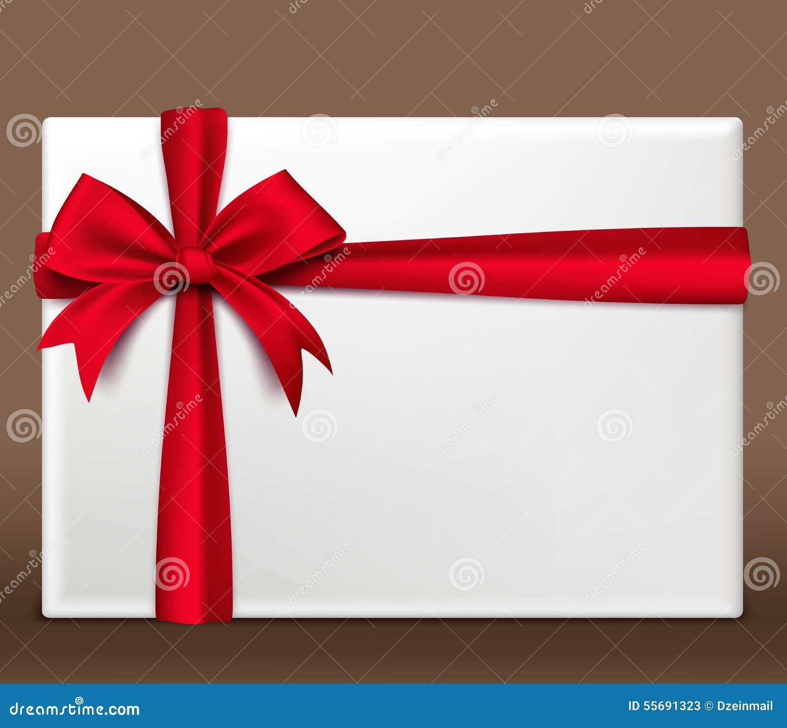 Boîte-cadeau 3D rouge coloré réaliste enveloppé avec le ruban de satin