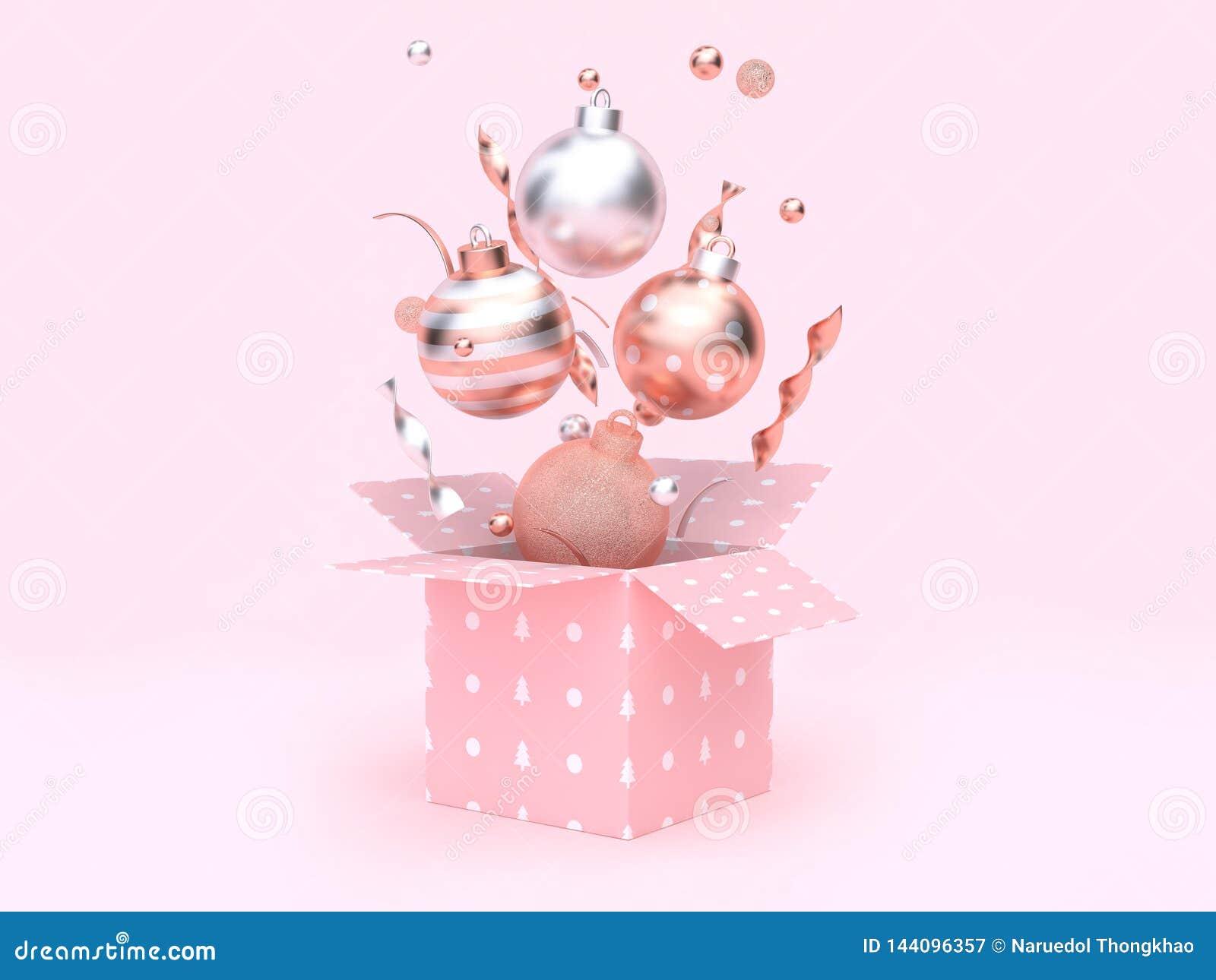 Boîte-cadeau de flottement de boule de Noël ouvrant le rendu rose du fond 3d