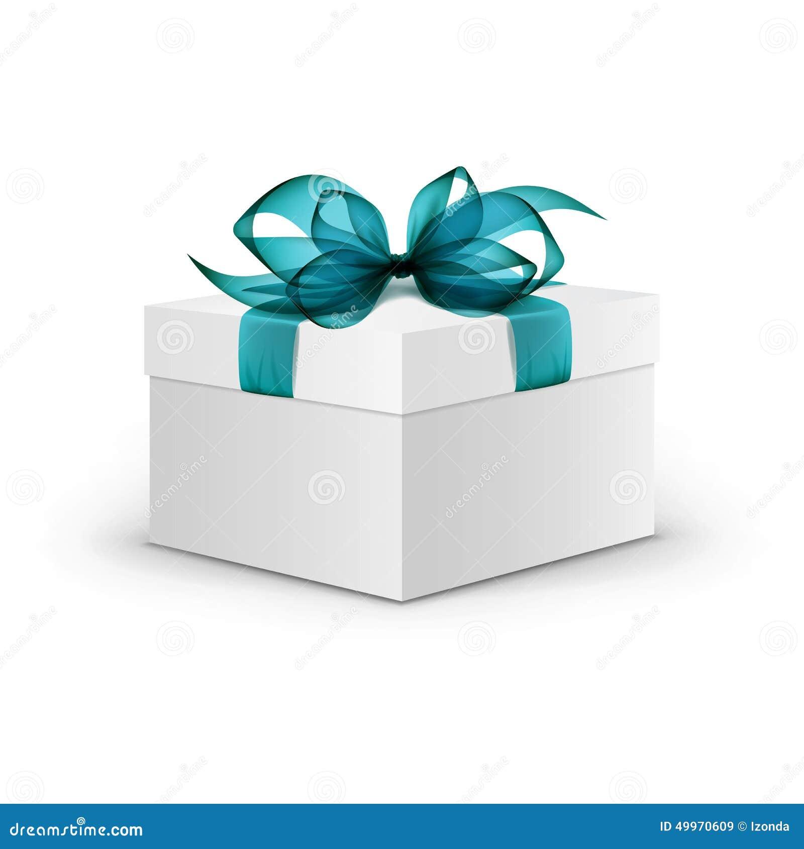 bo te cadeau de place blanche avec le ruban bleu clair illustration de vecteur illustration du. Black Bedroom Furniture Sets. Home Design Ideas