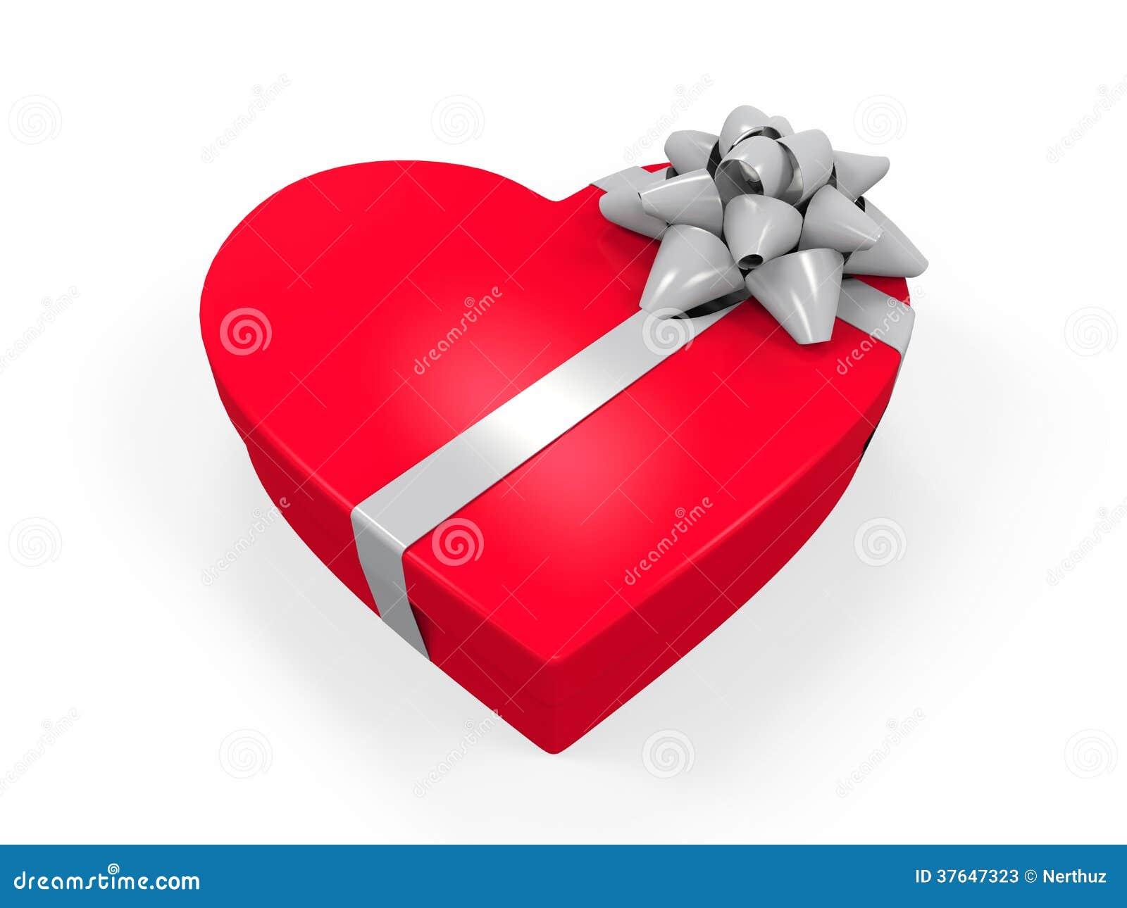 Boîte De Cadeau Le Jour De Noël Clip Art: Boîte-cadeau En Forme De Coeur Photos Stock