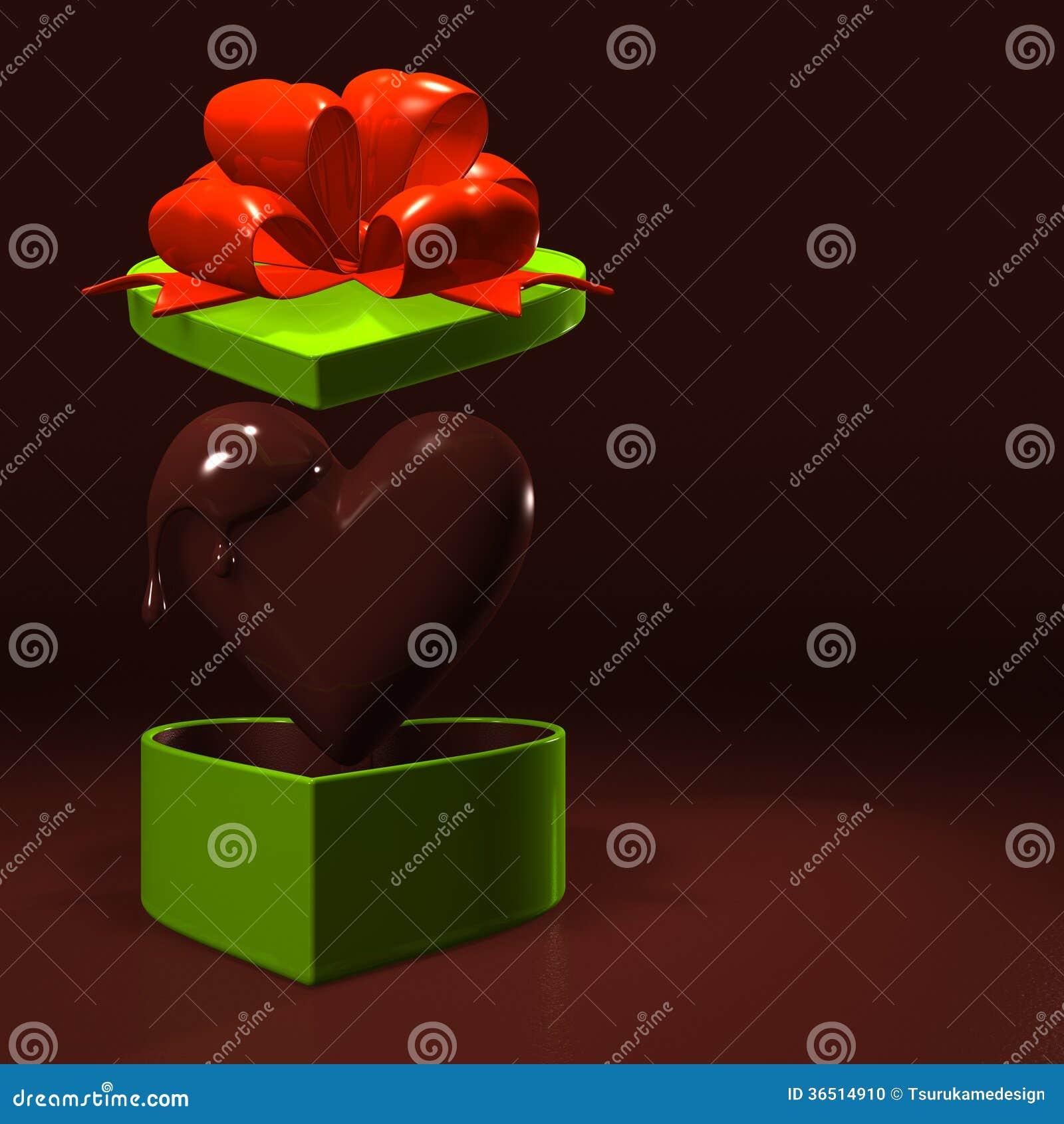 Boîte-cadeau en forme de coeur et chocolat avec l espace des textes