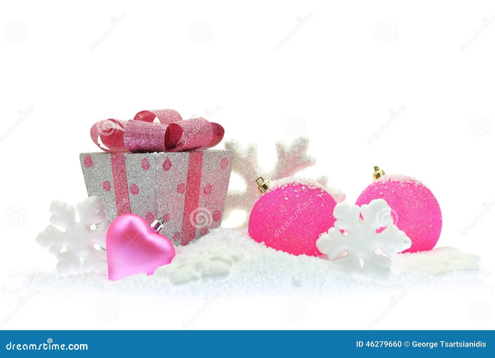 Boîte cadeau et Noël rose photo stock. Image du cadeau   46279660