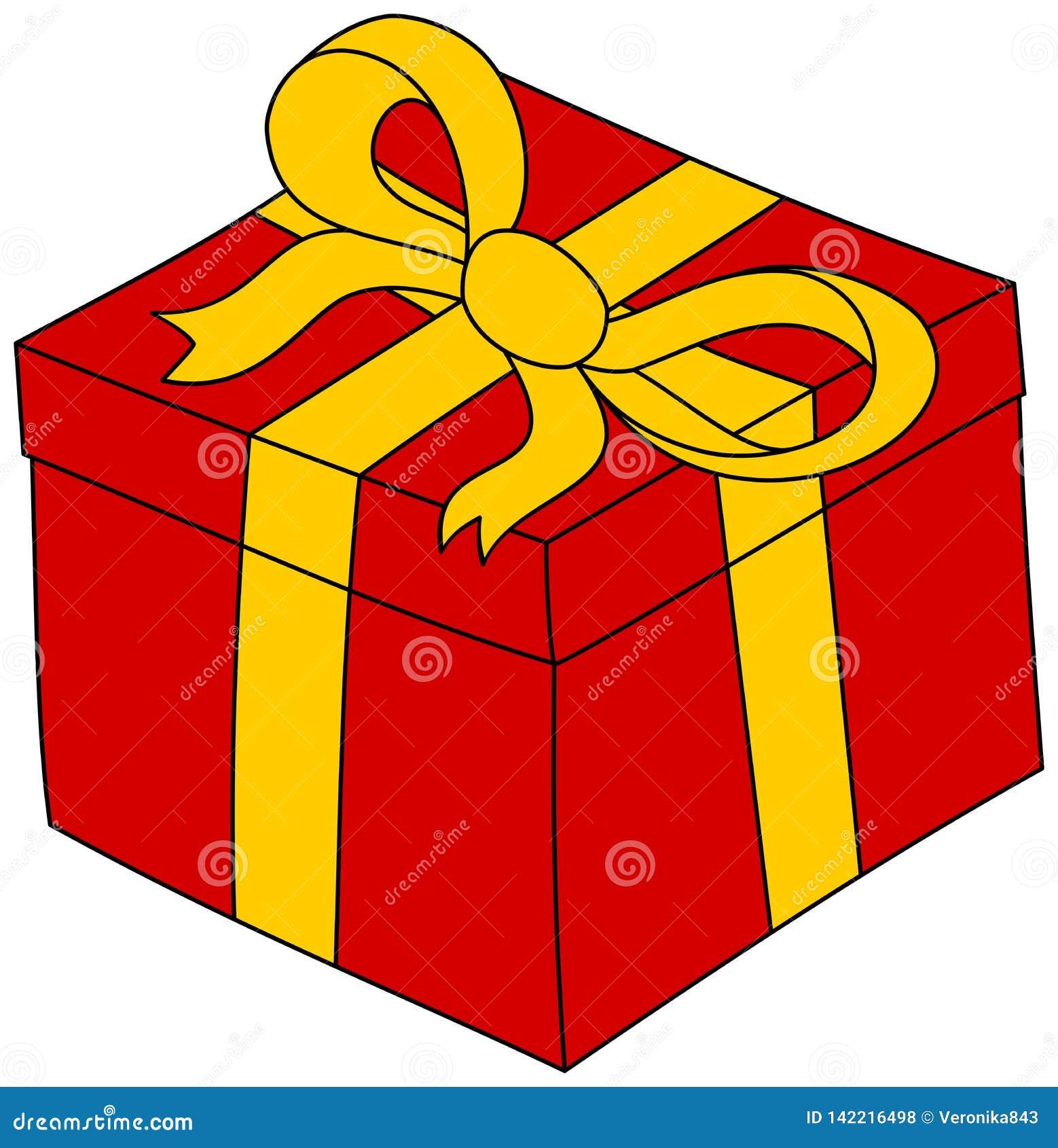 Boite Cadeau Rouge De Bande Dessinee Avec Le Ruban Jaune Clipart Actuel Illustration De Vecteur Illustration Du Jaune Avec 142216498