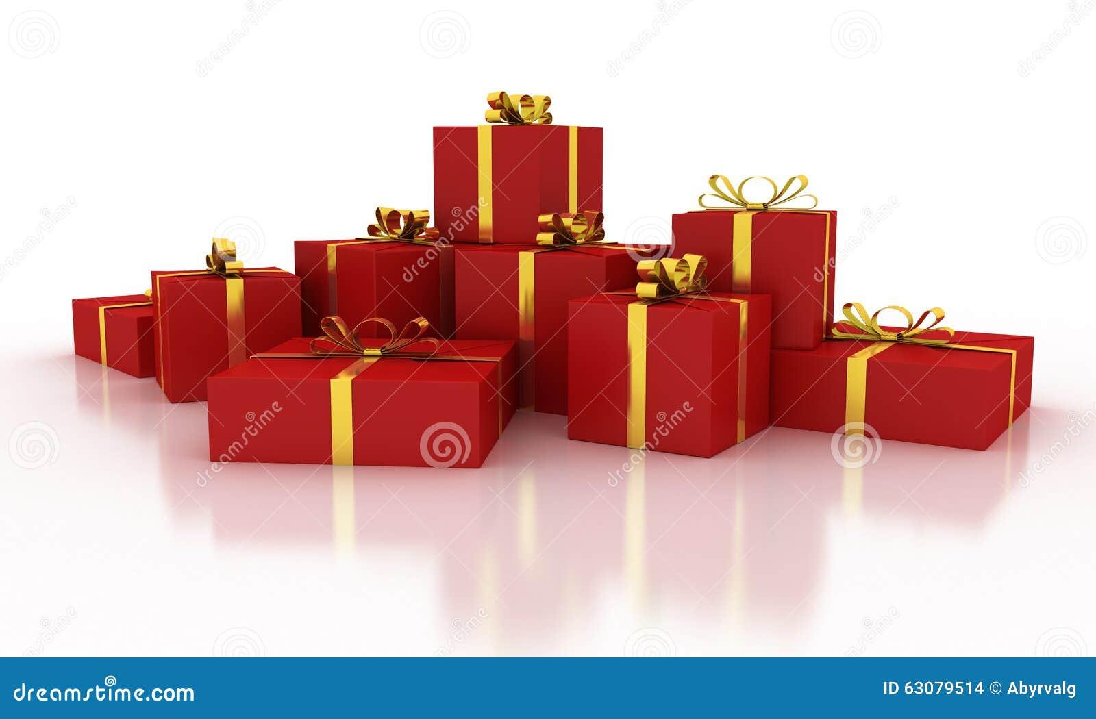 Download Boîte-cadeau Rouges De Noël Avec Des Rubans D'or Illustration Stock - Illustration du image, décor: 63079514