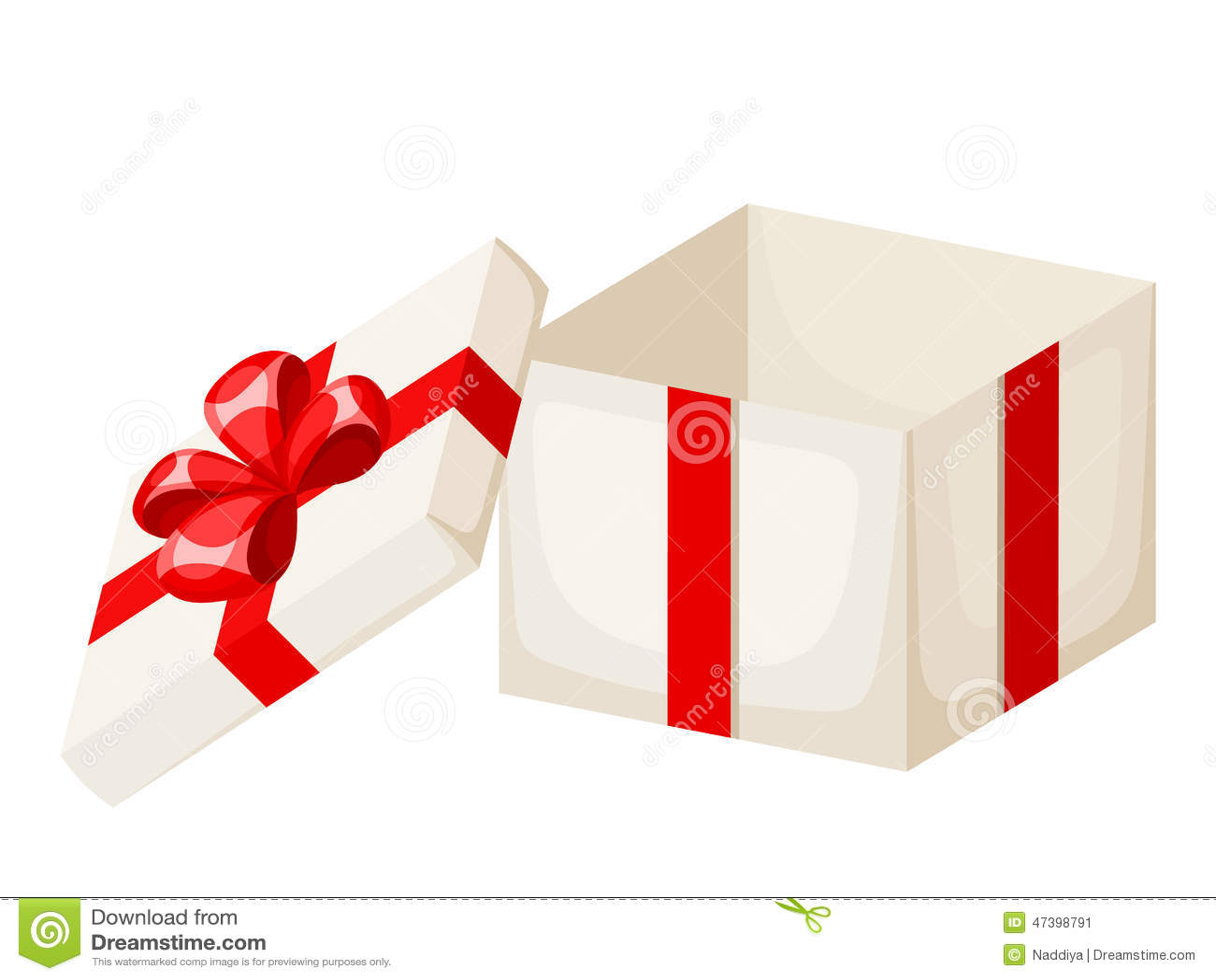 Boîte De Cadeau Le Jour De Noël Clip Art: Boîte-cadeau Vide Blanc Avec Le Ruban Et L'arc Rouges