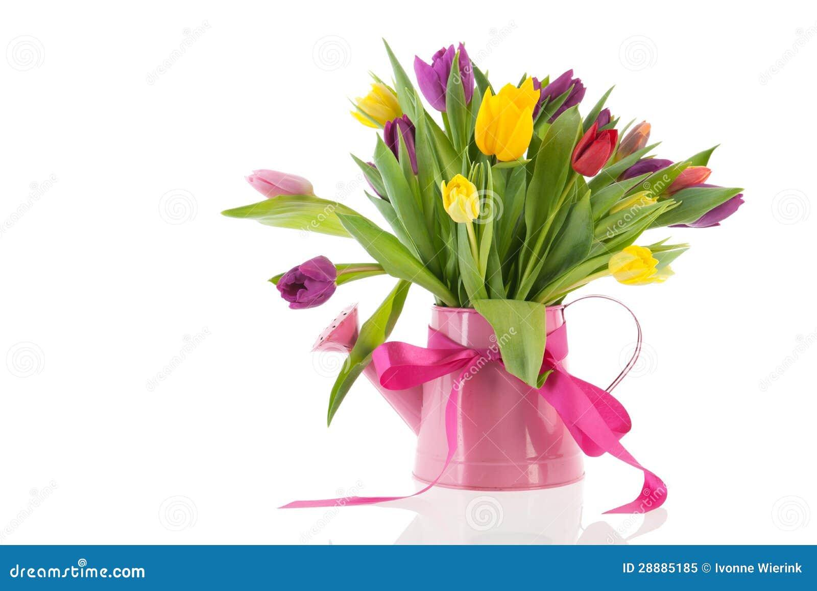 Boîte d arrosage avec des tulipes de bouquet pour l anniversaire
