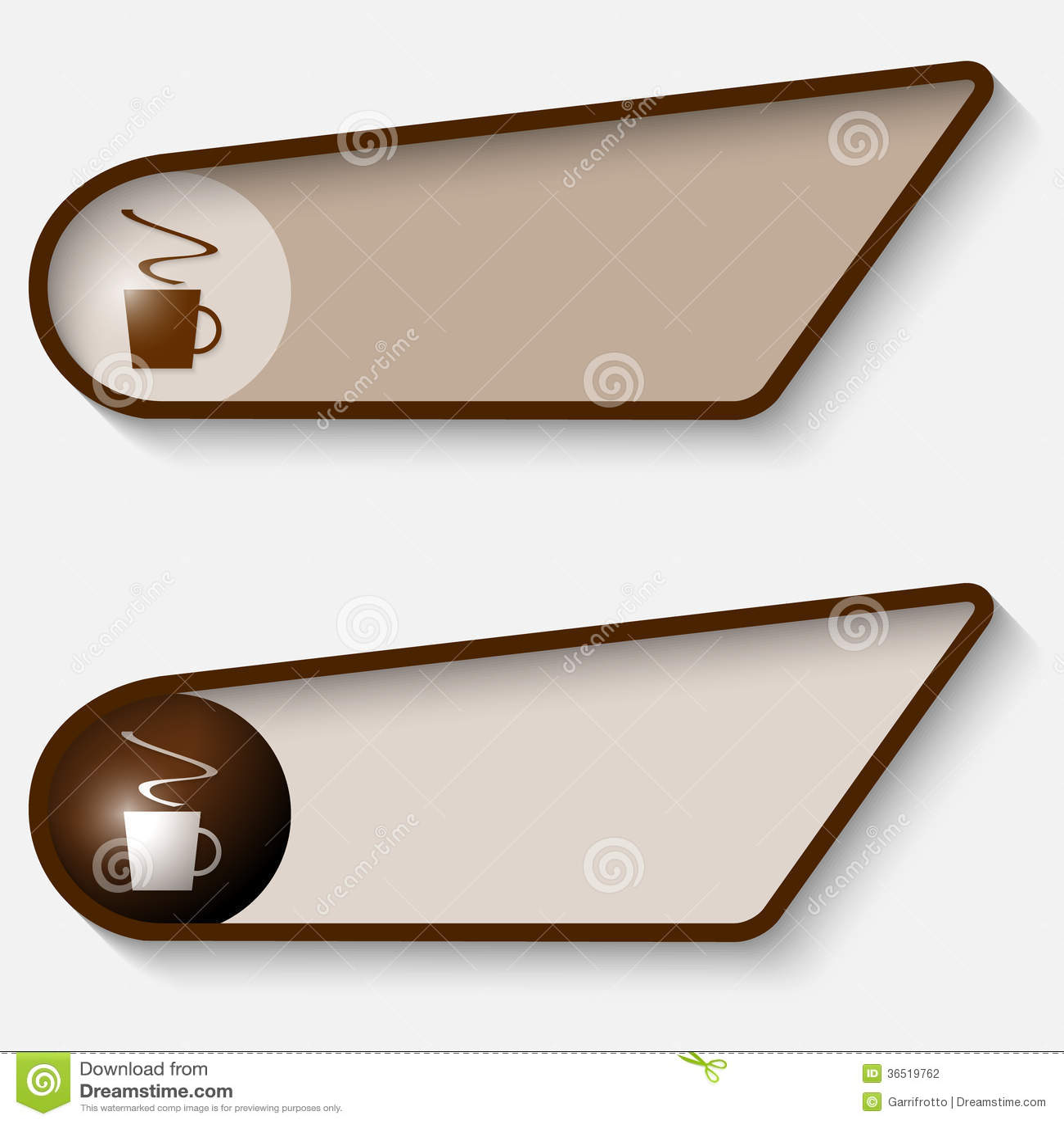 Boîte de Brown pour le texte et la tasse de café