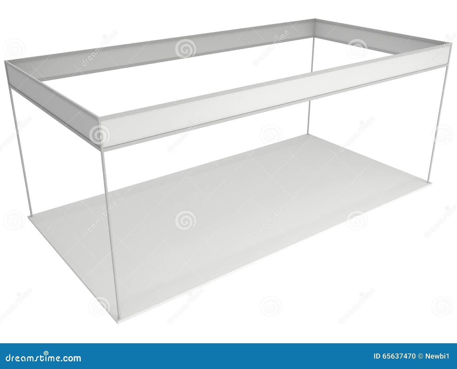 Boîte de cabine de salon commercial blanche et vide Exposition d intérieur vide