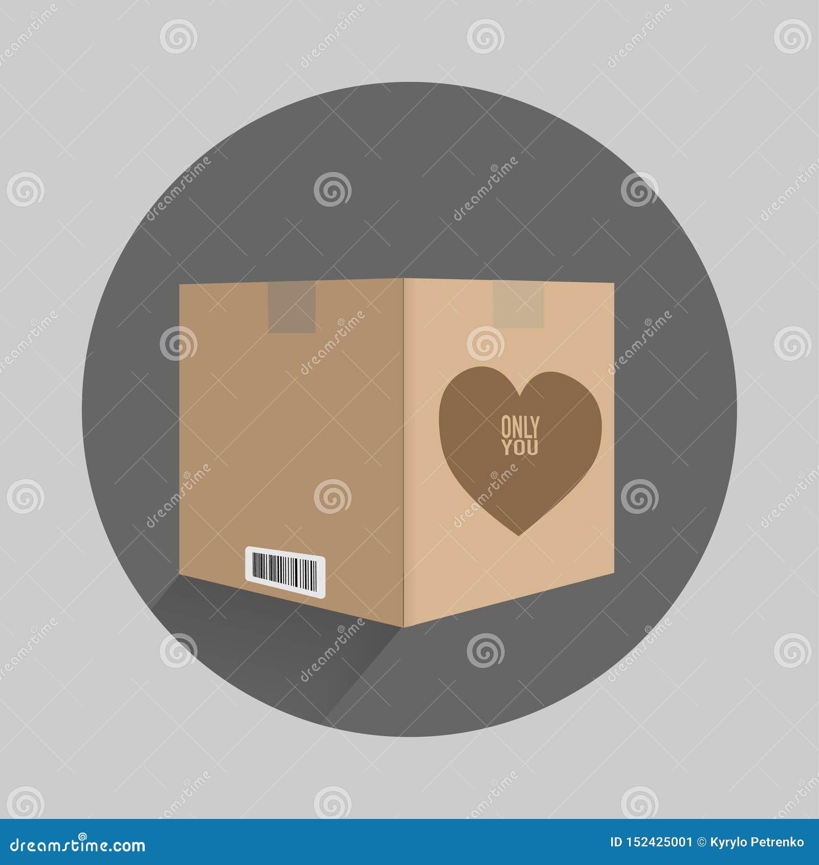 Boîte de carton avec un coeur sur seulement vous