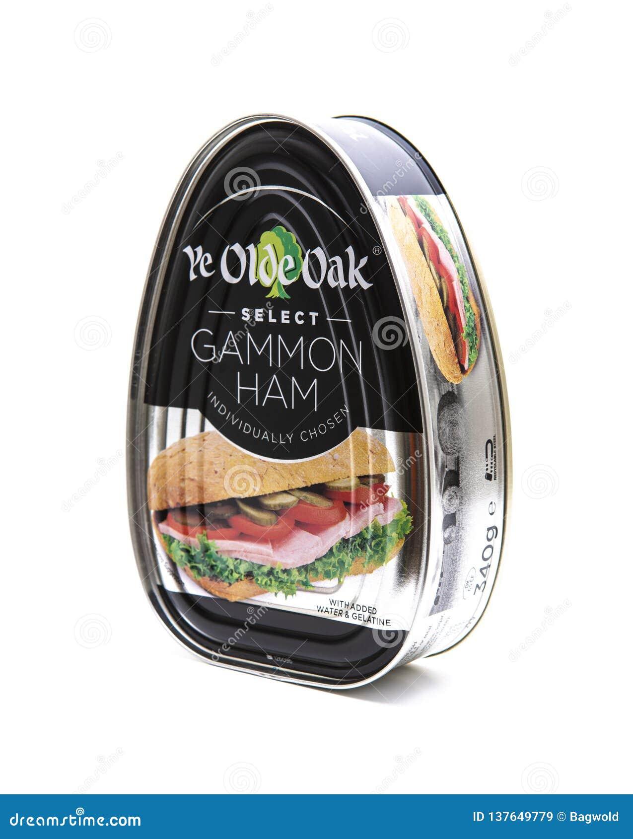 Boîte de le jambon choisi de Gammon de chêne d antan du YE sur un fond blanc