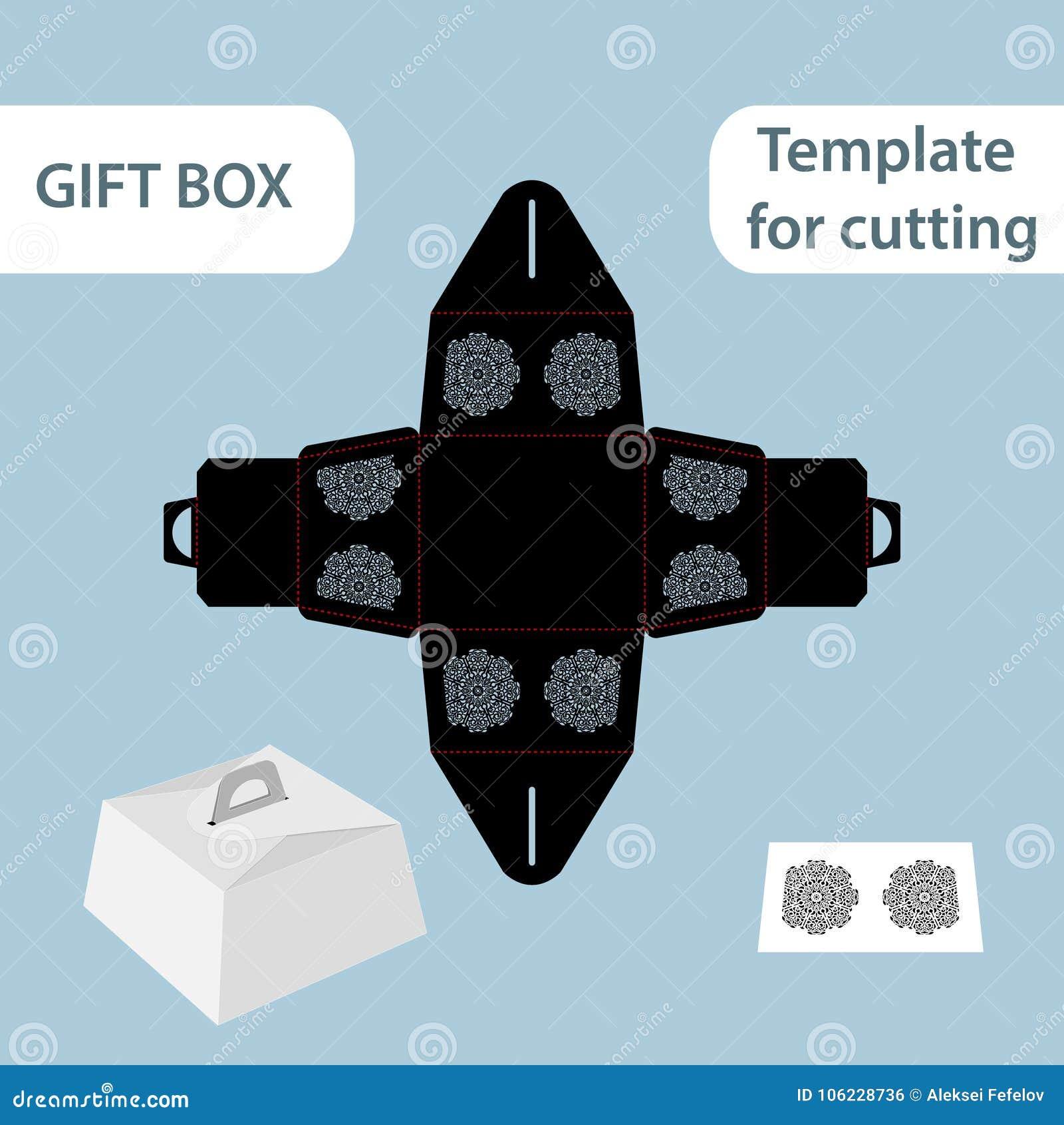 Boîte de papier de cadeau à jour avec une poignée, modèle de dentelle,