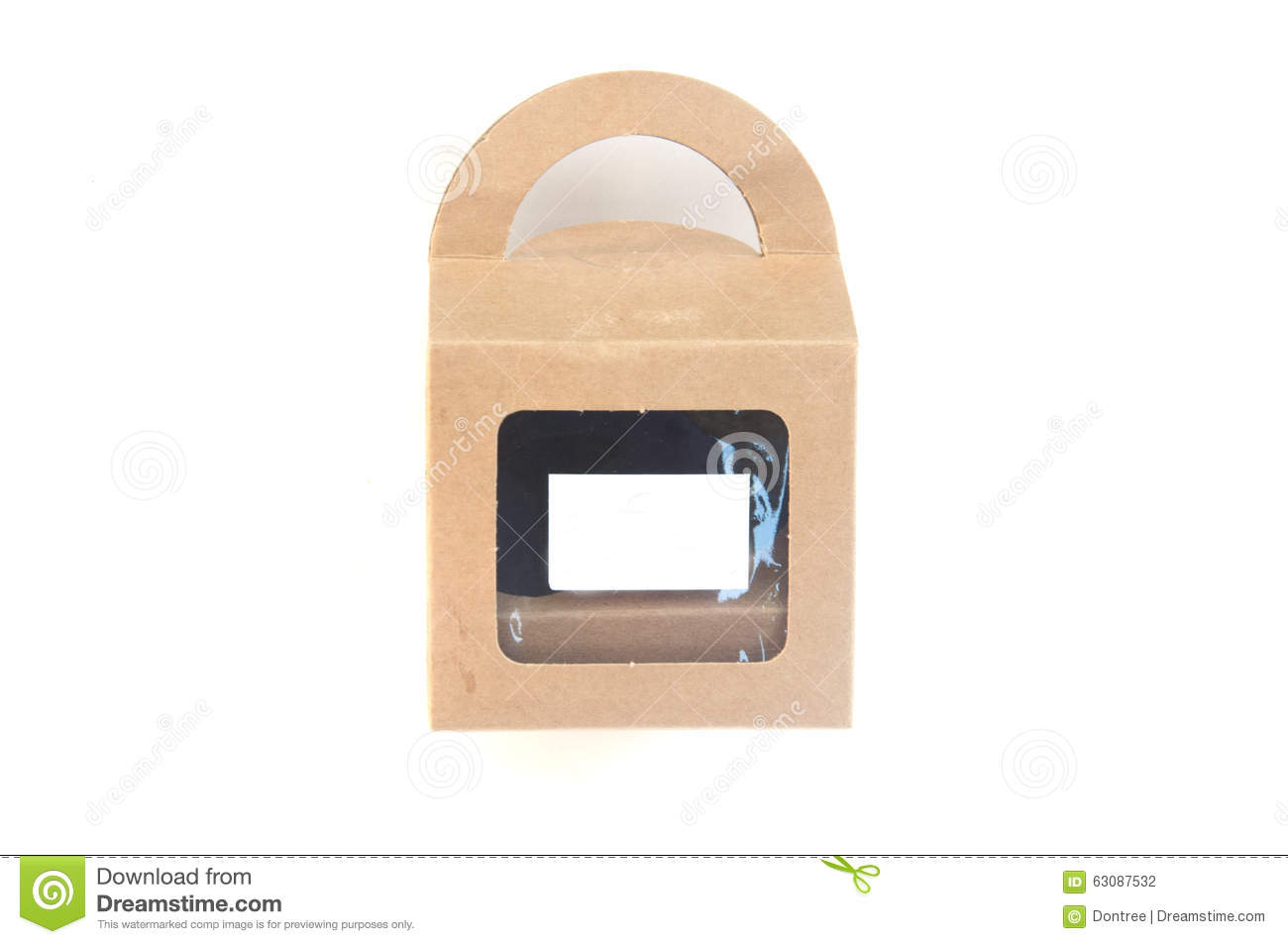 Download Boîte De Papier De Brown Avec Transparent Avant Photo stock - Image du isolement, corde: 63087532