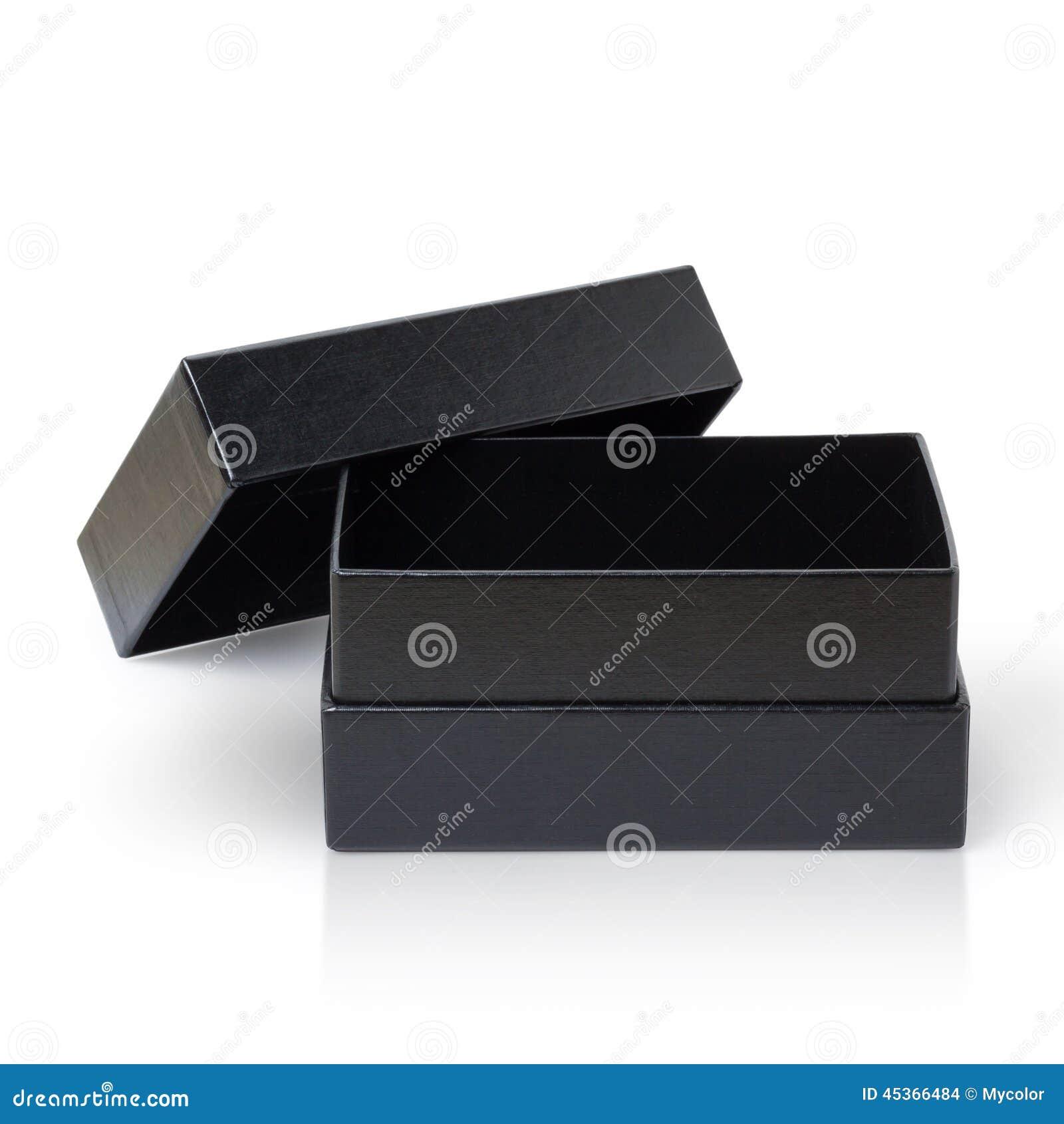 Boîte de papier noire d isolement sur le blanc