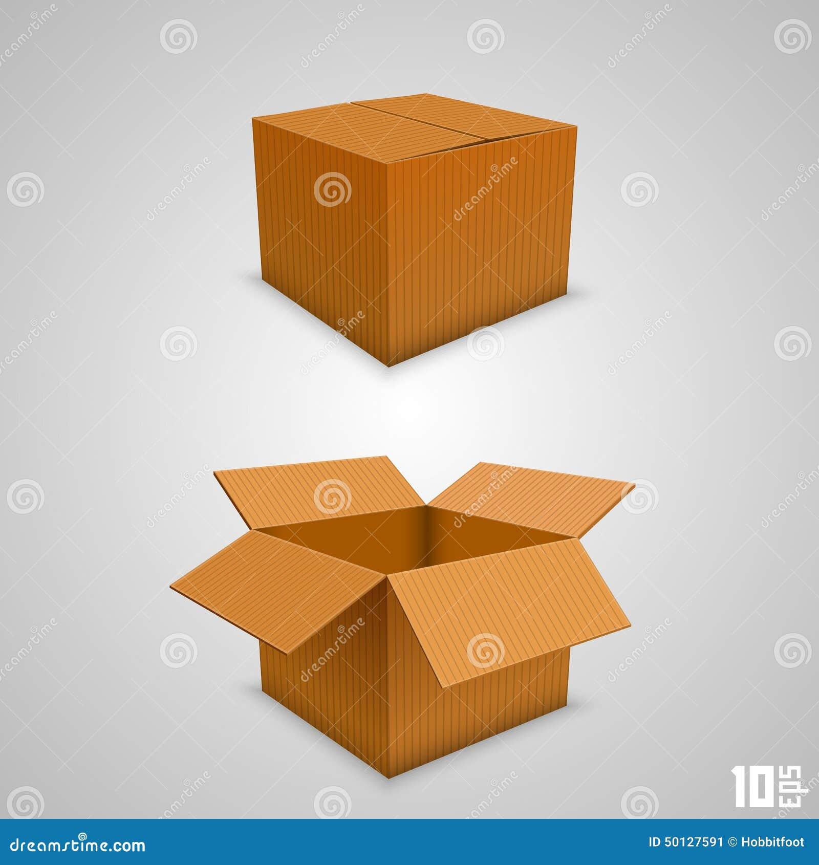Boîte de papier ouverte et fermée