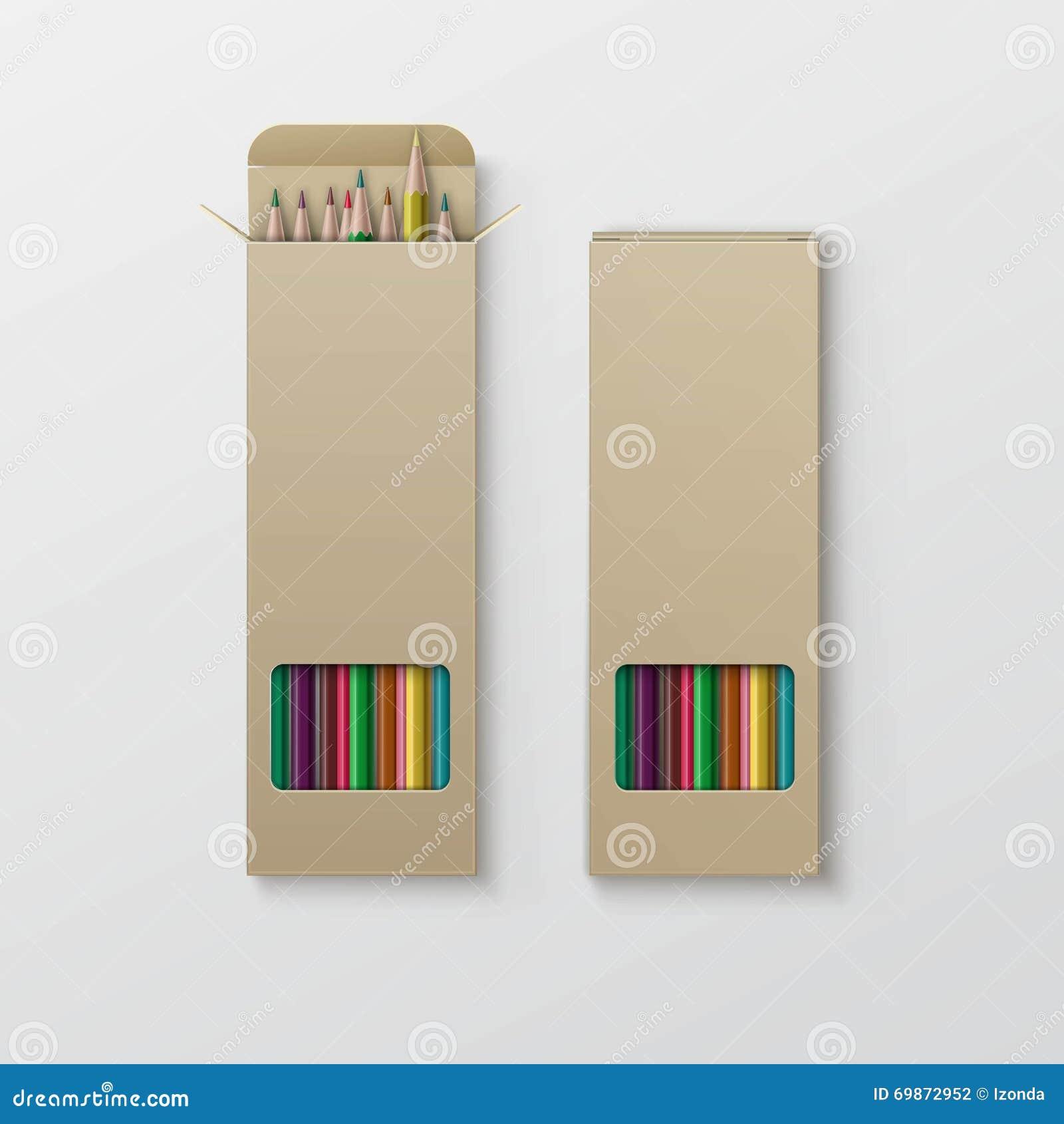 Boîte de vecteur de crayons colorés d isolement sur le fond