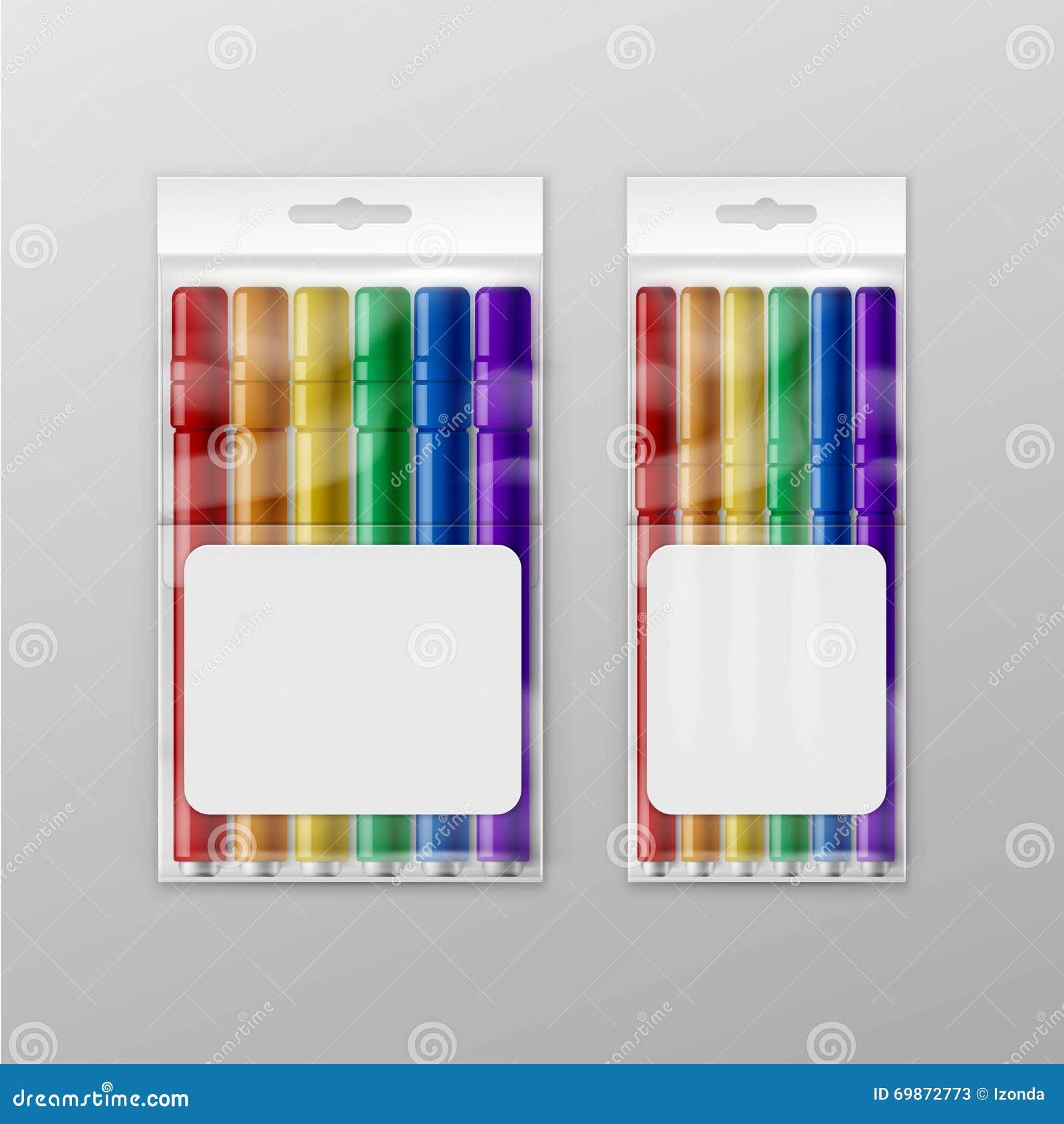 Boîte de vecteur de marqueurs feutres colorés de stylos d isolement