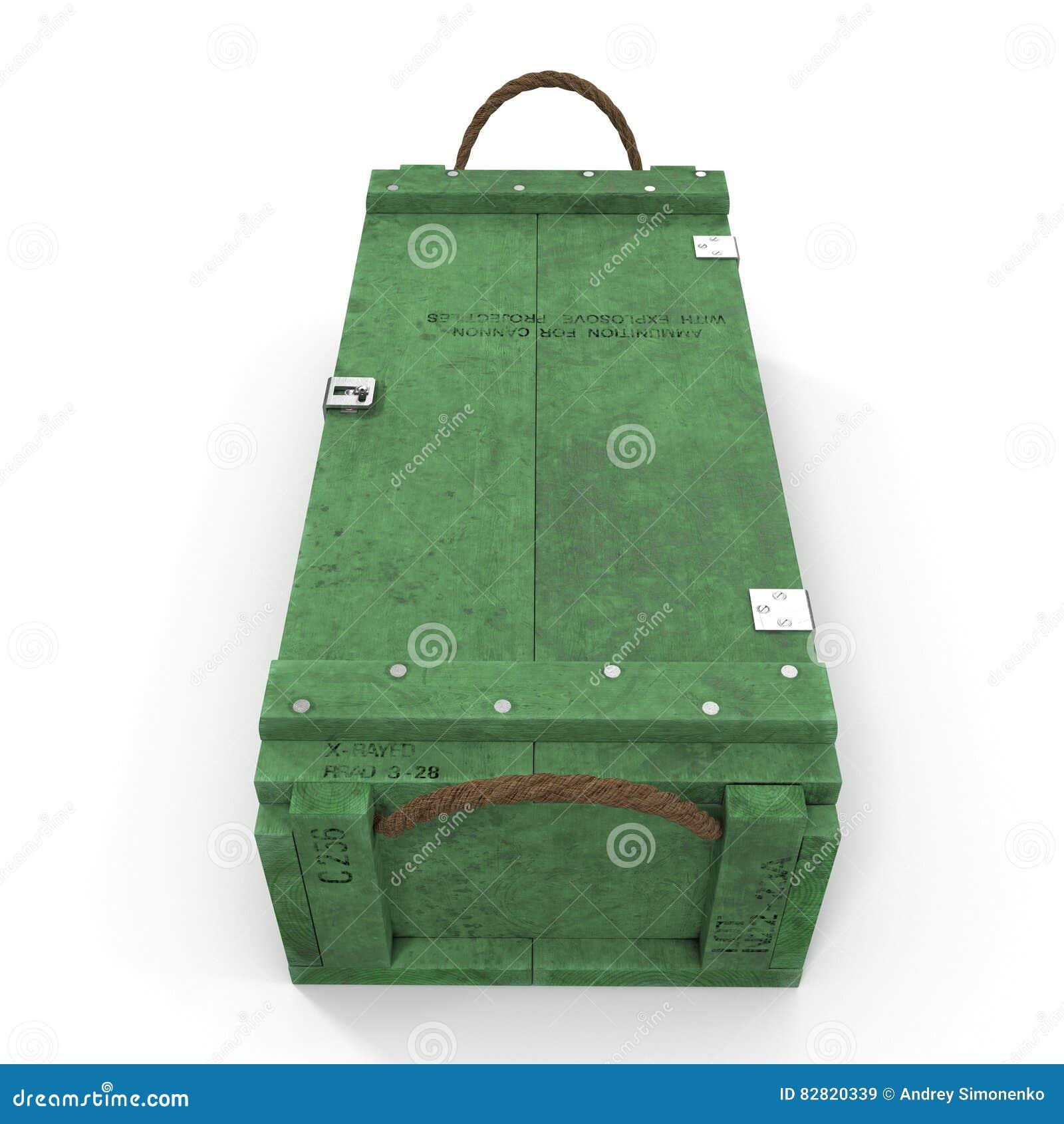 Boîte de vert de vue de face de munitions d isolement sur le blanc illustration 3D