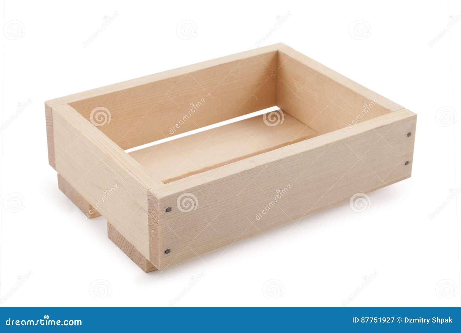 Boîte en bois vide d isolement sur le blanc