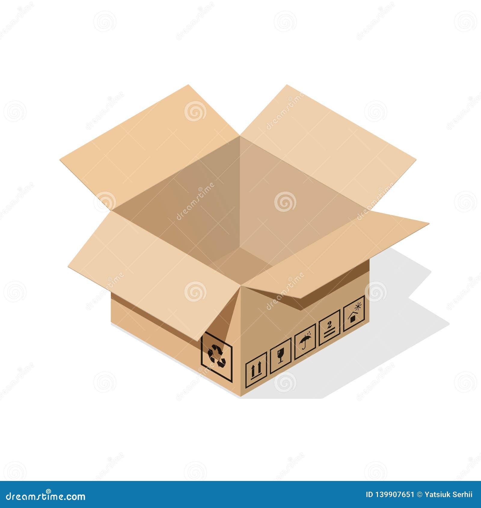 Boîte en carton avec l ombre plate