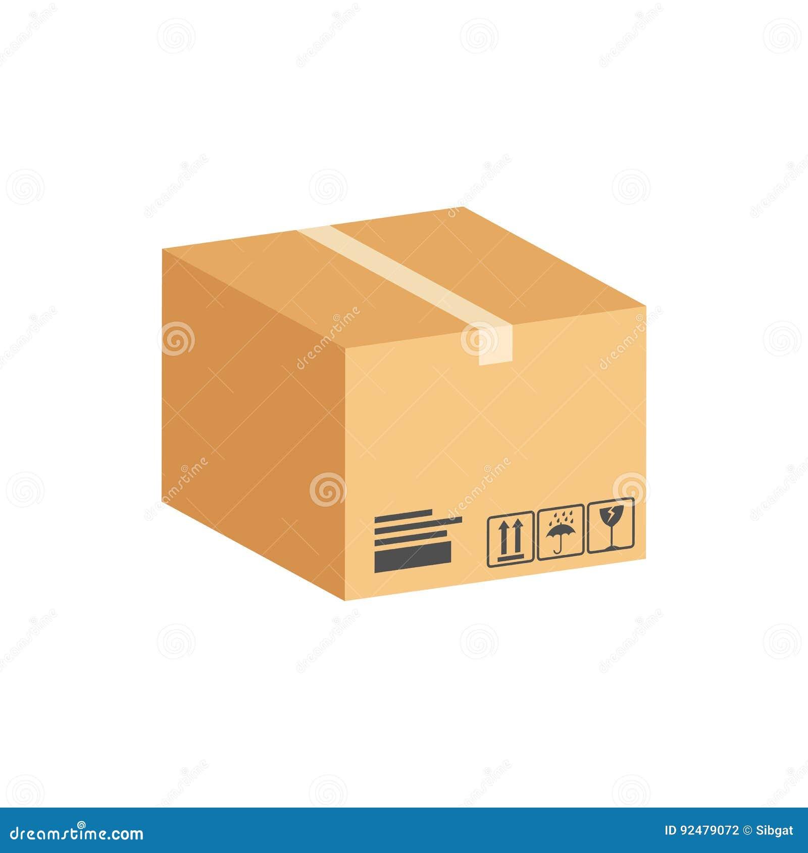 bo te en carton symbole de colis ic ne ou logo isom trique plate illustration de vecteur. Black Bedroom Furniture Sets. Home Design Ideas