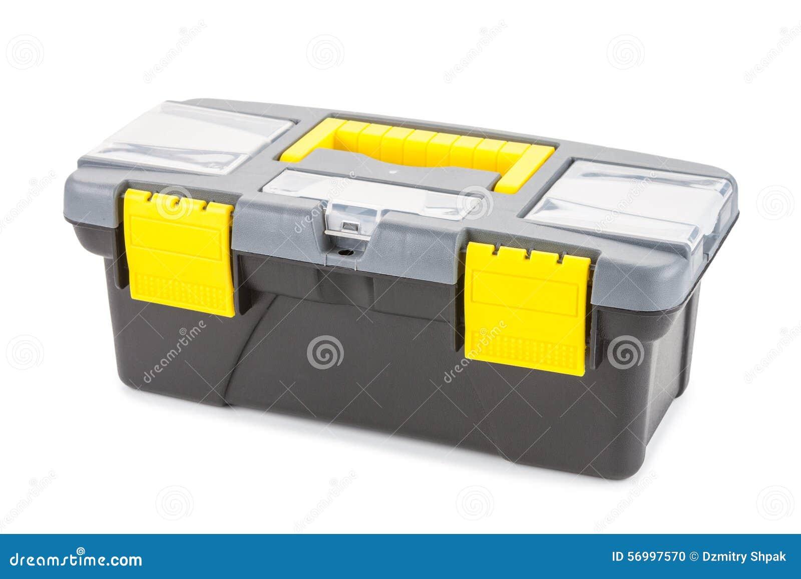 Boîte en plastique avec des outils d isolement sur le fond blanc