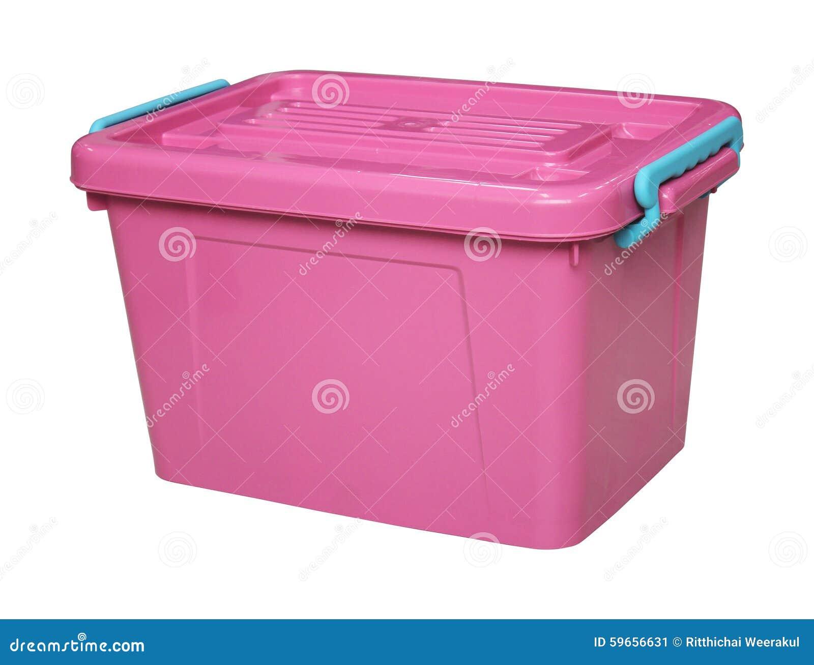 Boîte en plastique rose d isolement sur le blanc avec le clippingpath
