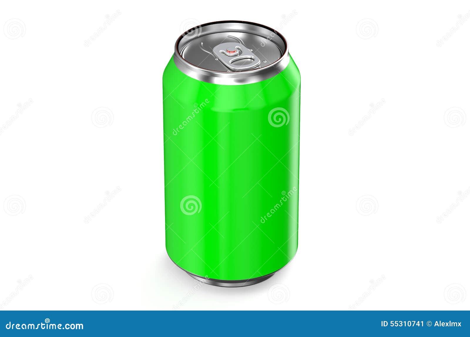 Boîte métallique de boissons vertes