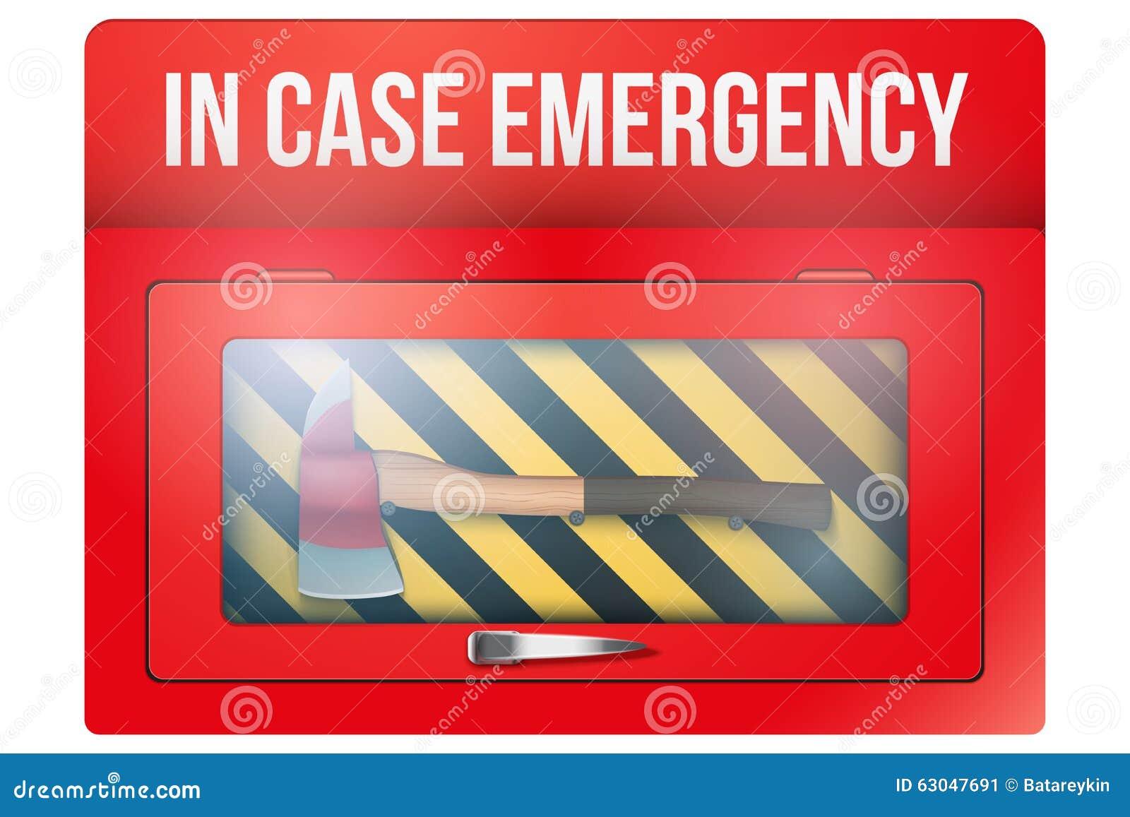 Boîte rouge avec la hache en cas d urgence