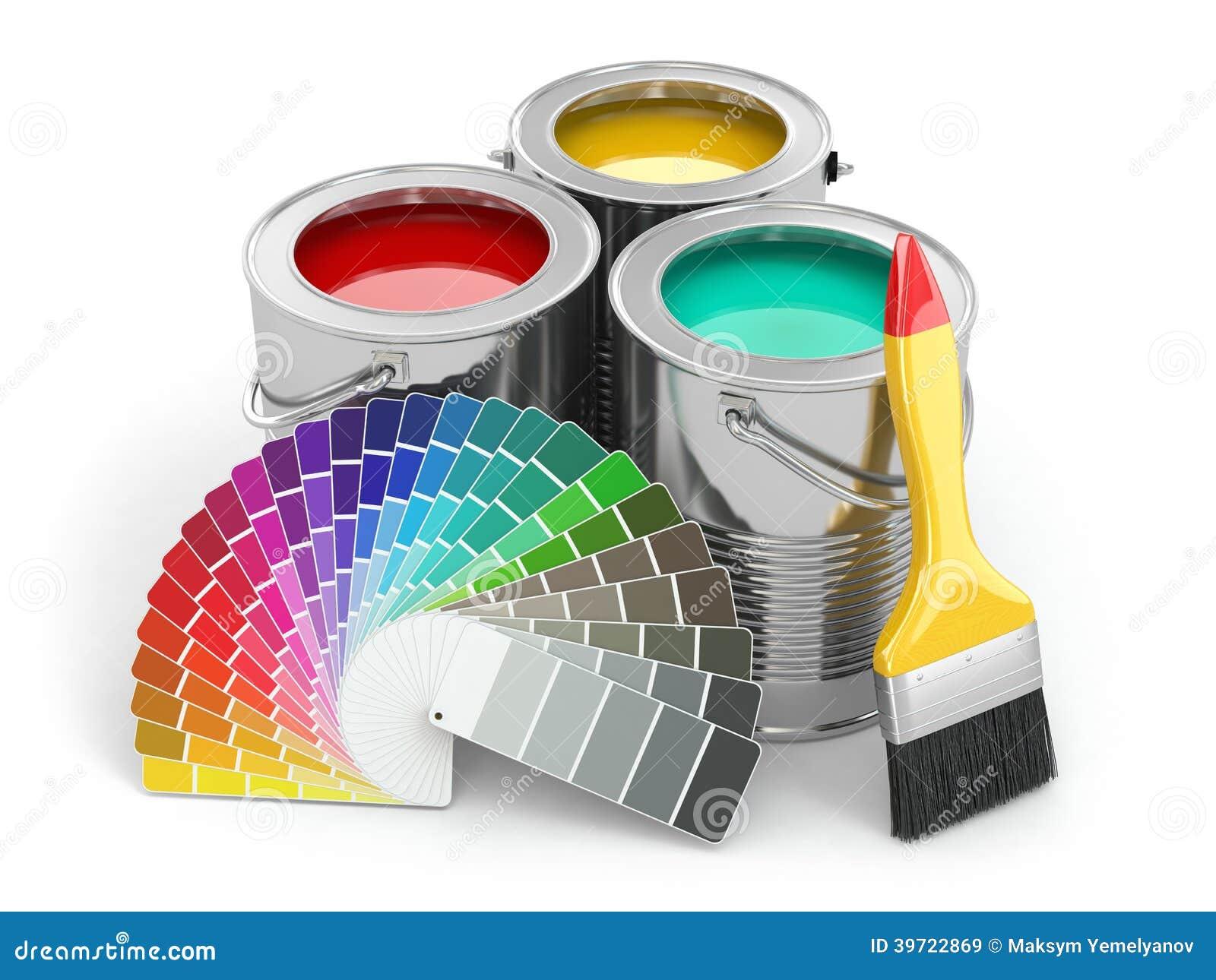 Bo tes de peinture avec la palette et le pinceau de couleur - Les couleurs de la peinture ...