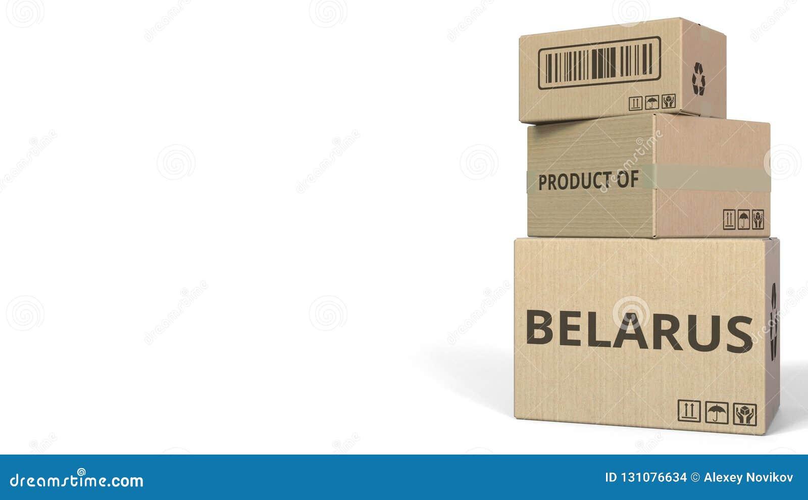 Boîtes en baisse avec le PRODUIT du texte du BELARUS Rendu 3d conceptuel