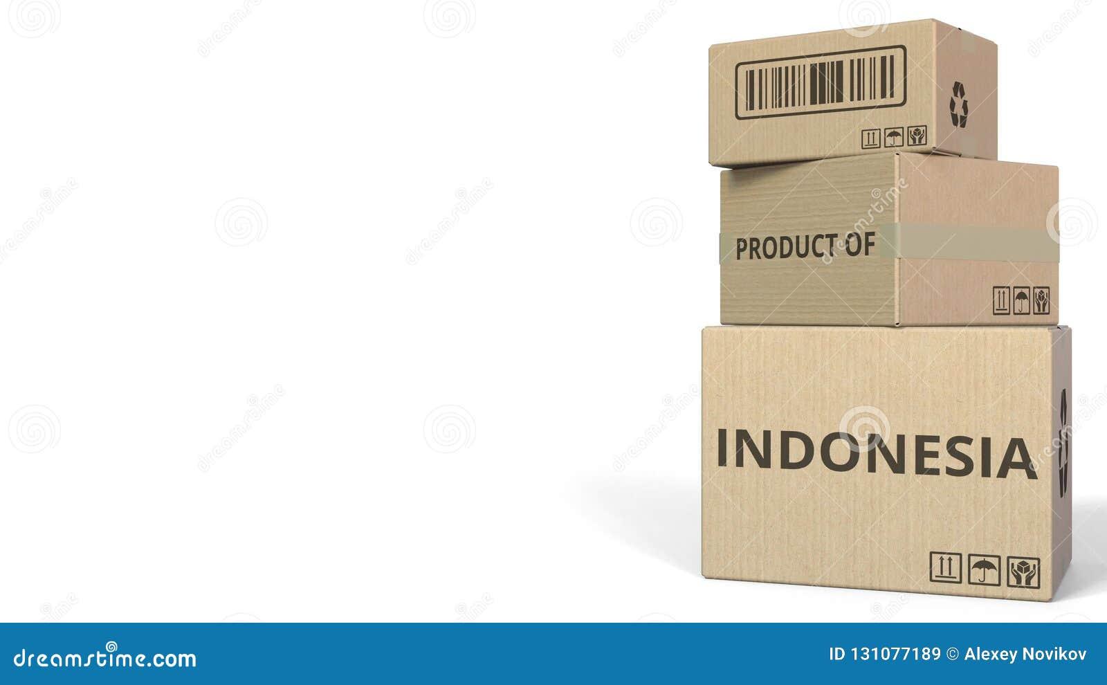 Boîtes en baisse avec le PRODUIT du texte de l INDONÉSIE Rendu 3d conceptuel