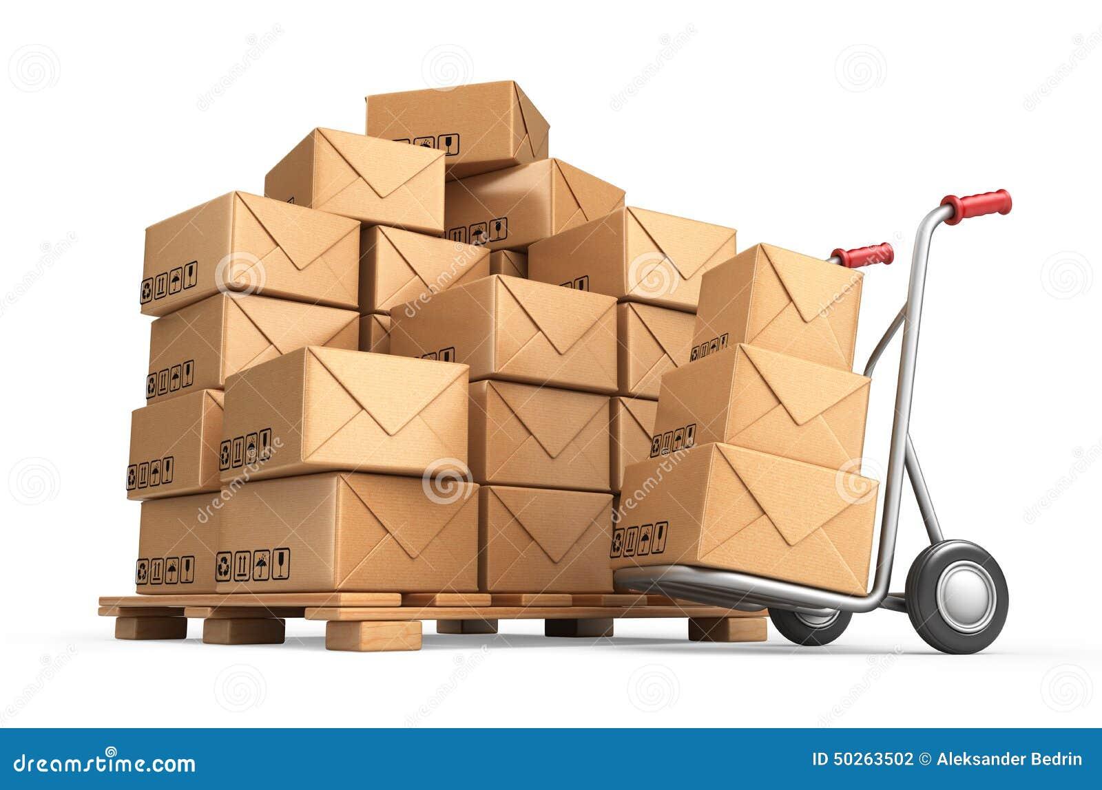 Bo tes en carton sur la palette cargaison livraison et - Palette a dessin ...