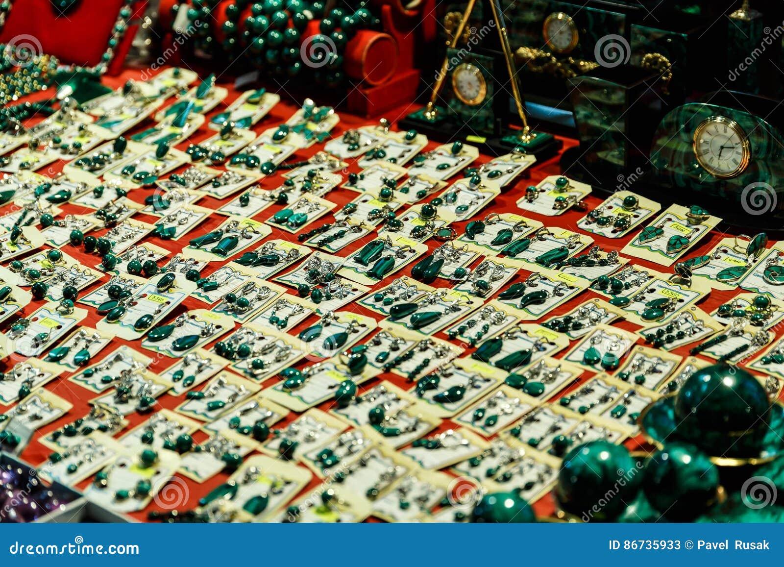 Boîtes et accessoires de malachite