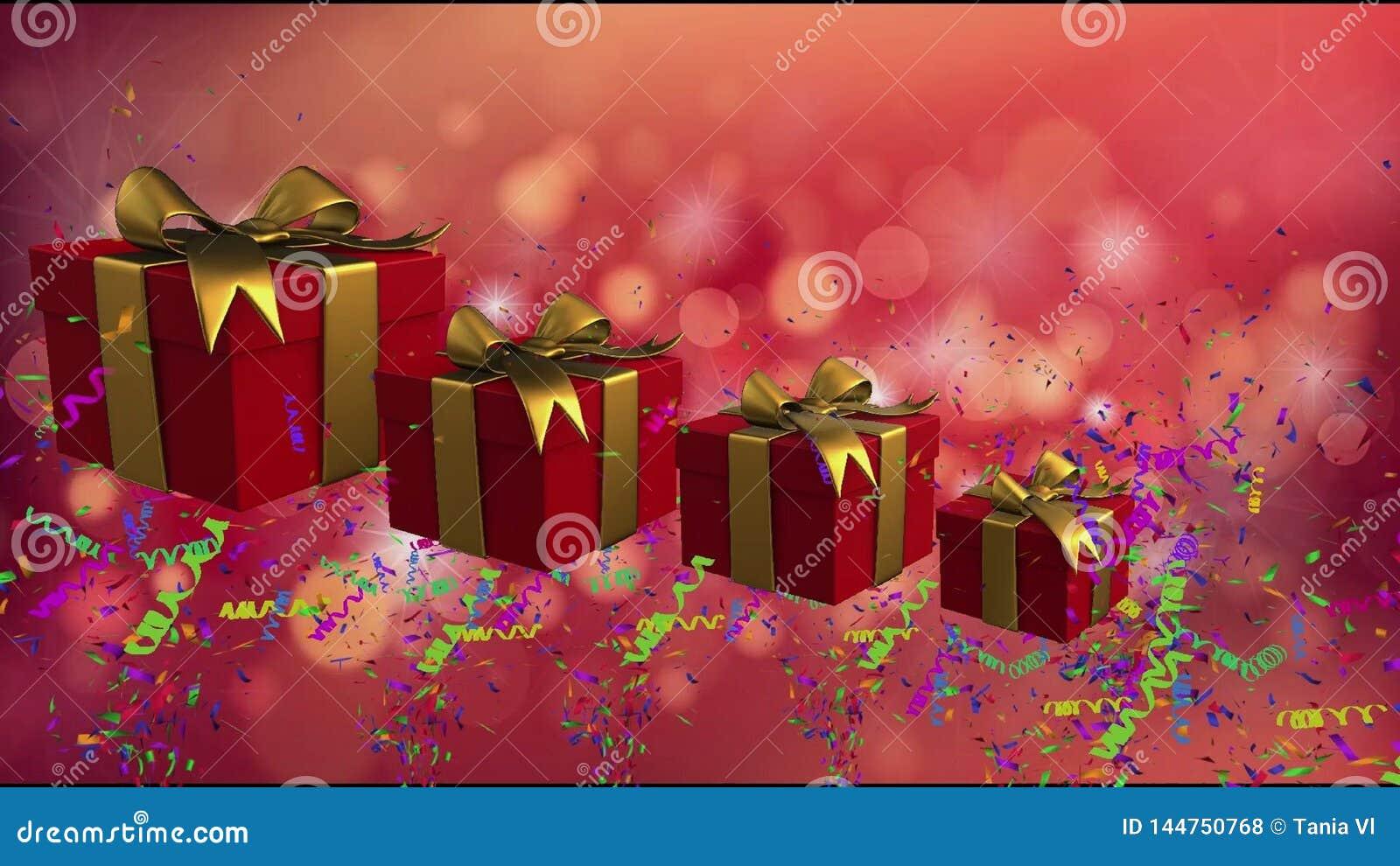 Boîtes rouges de vacances avec des rubans d or