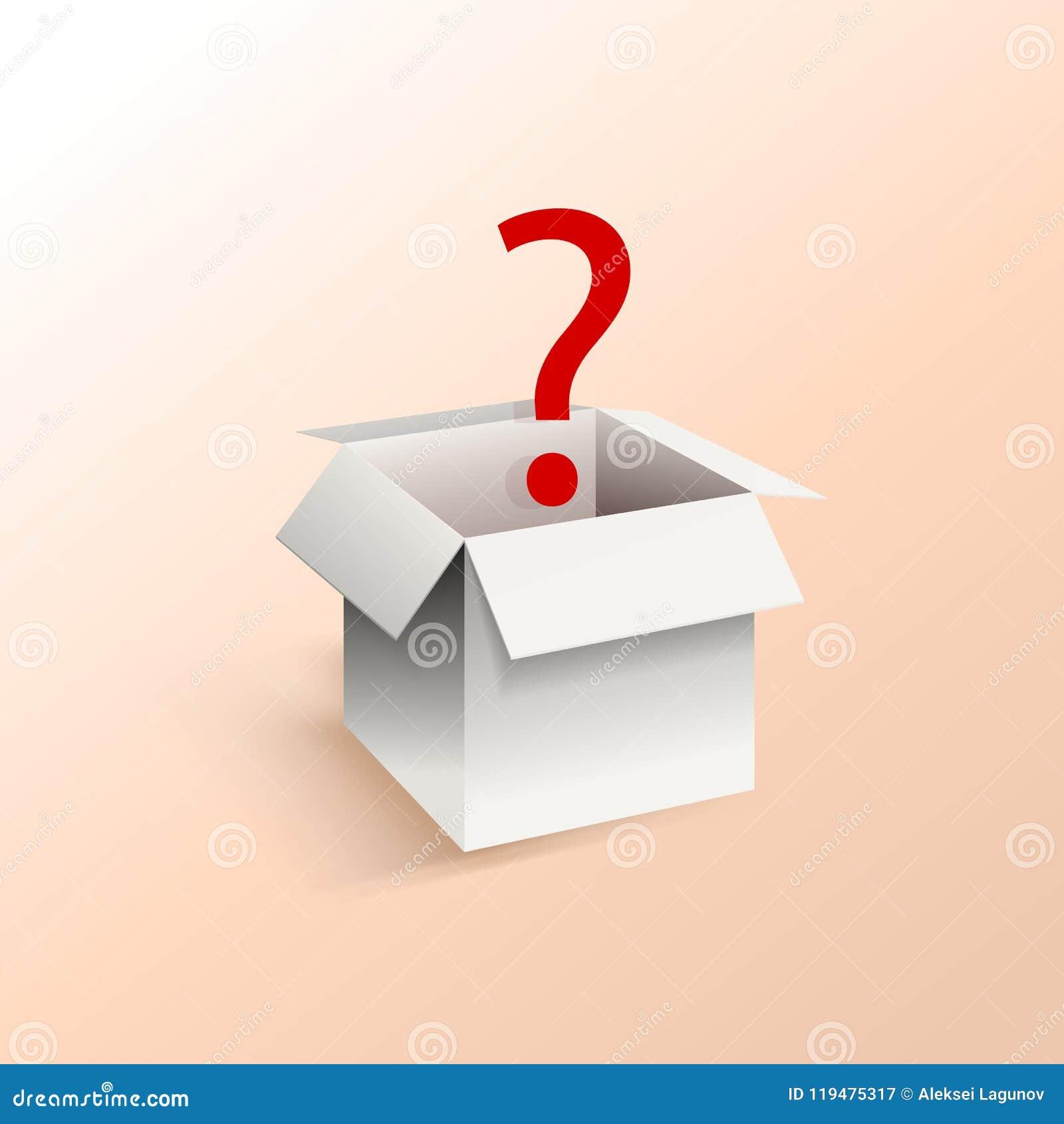 Boîtier blanc de vecteur avec le point d interrogation rouge, calibre d illustration, boîte de surprise
