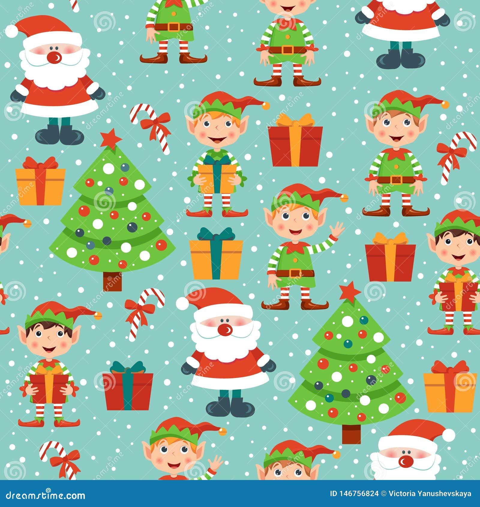 Bo?e Narodzenia deseniuj? z Santa, choink?, prezentami i elfami,