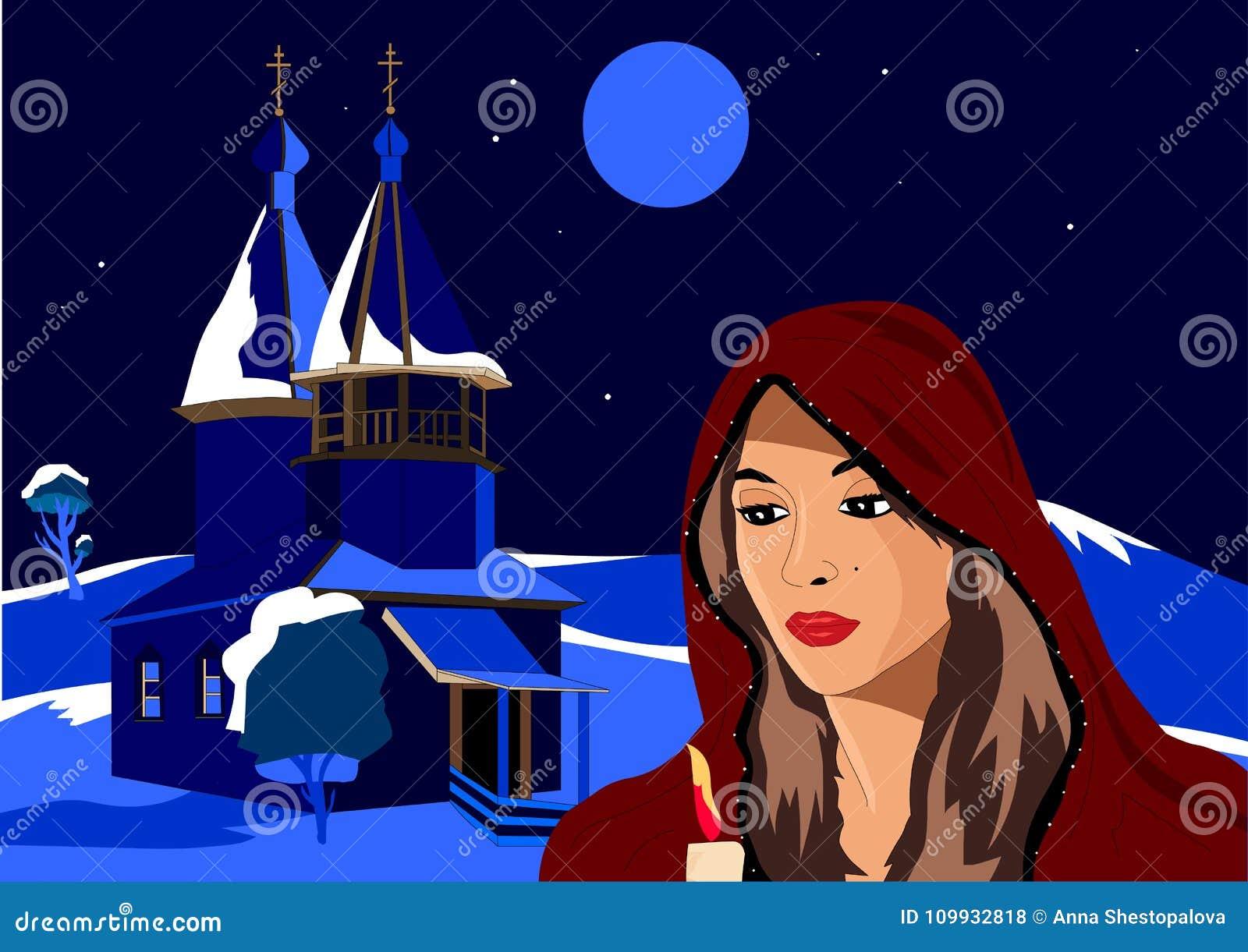 Boże Narodzenia dziewczyna trzyma świeczkę w zimie, stoi obok kościół