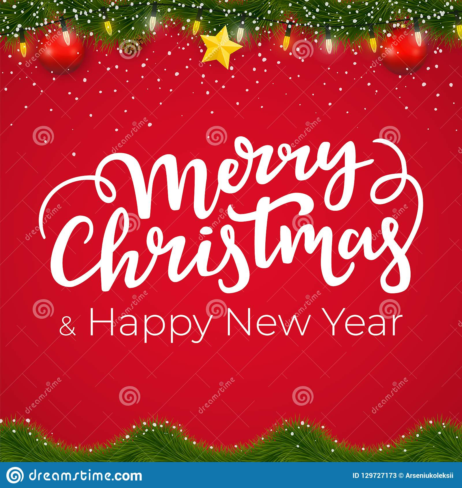 Boże Narodzenia i nowy rok granica z czerwonym tłem Xmas karciany projekt z dekoracyjnymi elementami i zimy girlandą