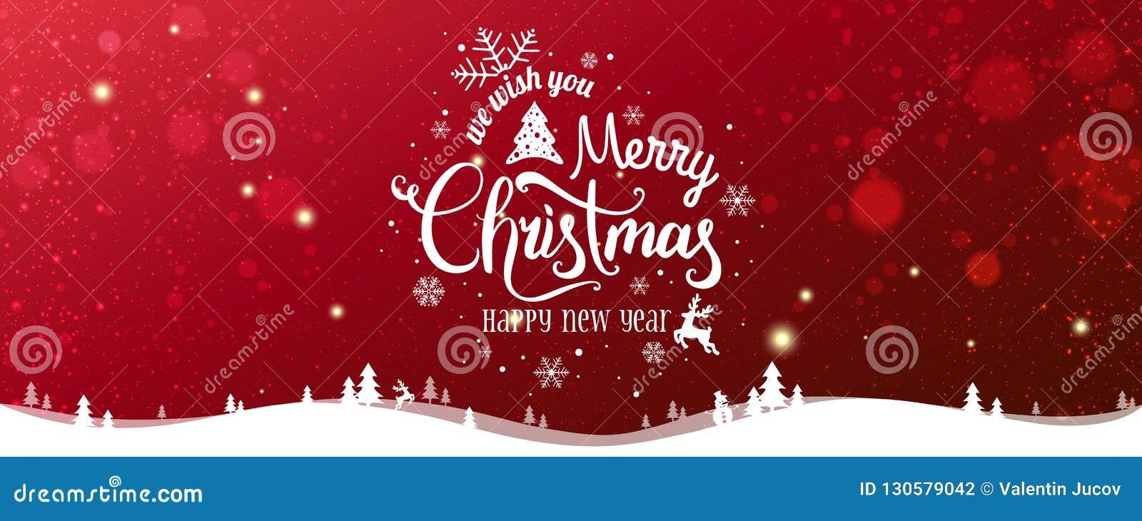 Boże Narodzenia i nowy rok Typographical na śnieżnym Xmas tle z zima krajobrazem z płatek śniegu, światło, grają główna rolę