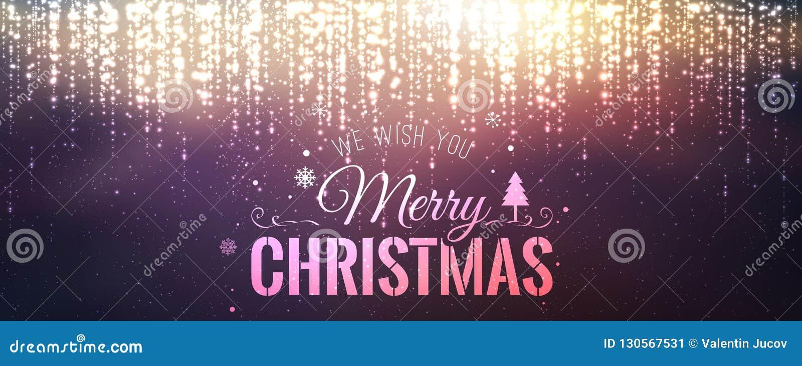 Boże Narodzenia i nowy rok typographical na tle z iskrzyć, światło, grają główna rolę