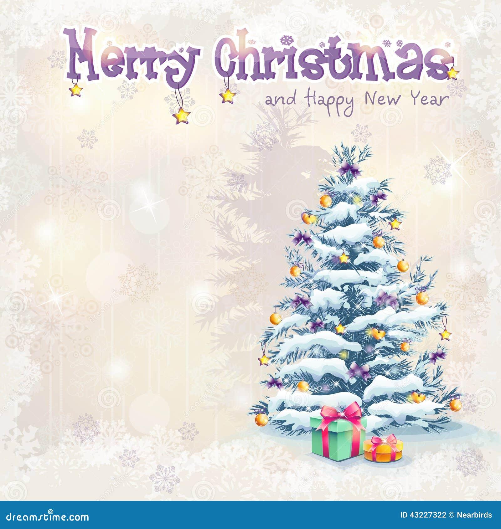 Boże Narodzenia i nowy rok z choinką i prezentami