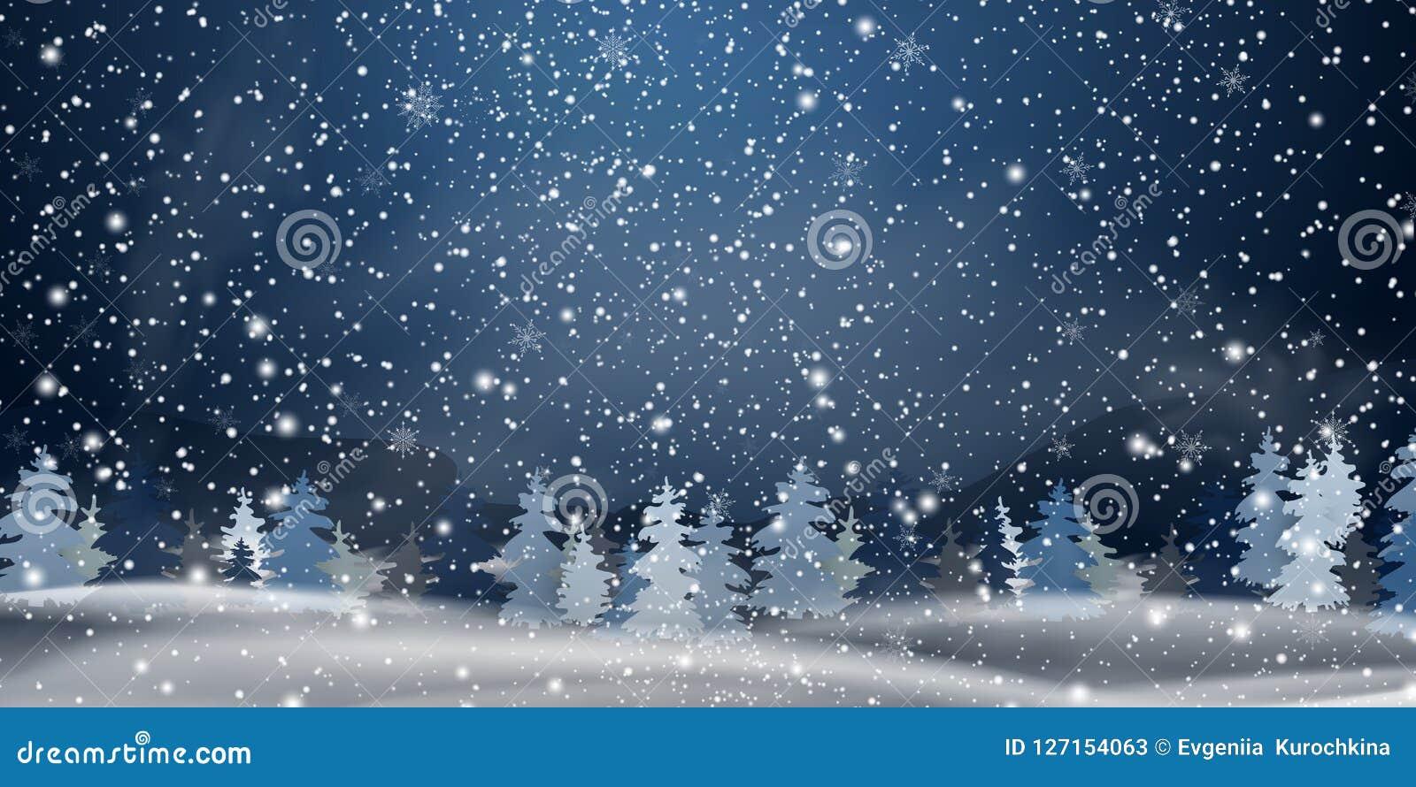 Boże Narodzenia, noc lasu Śnieżny krajobraz tło płatków śniegu biały niebieska zima Wakacyjny zima krajobraz dla Wesoło bożych na