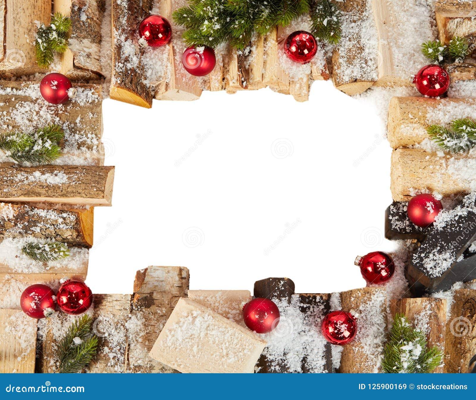 Boże Narodzenia obramiają z śniegiem, belami i baubles zimy,