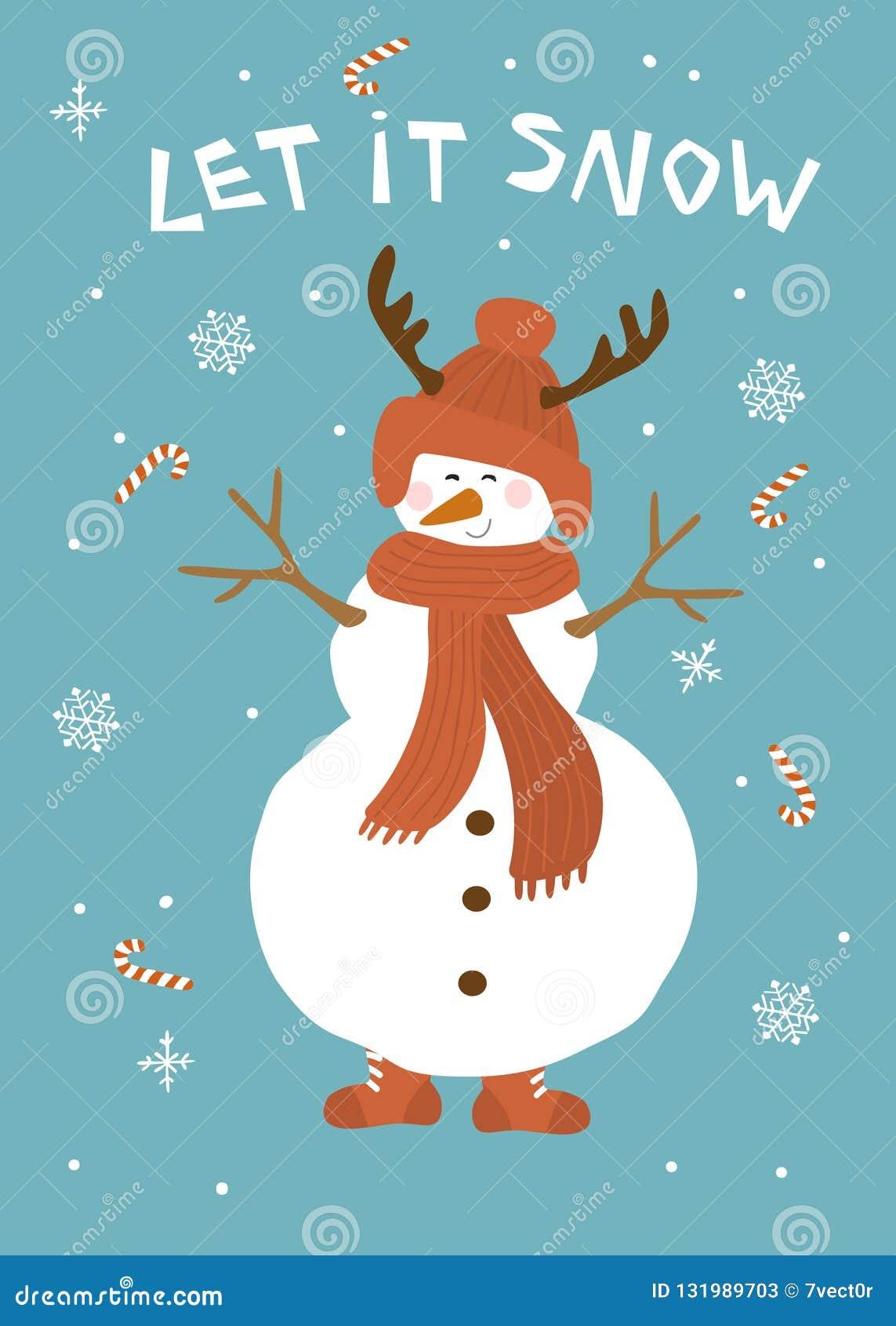Boże Narodzenia pozwalali mnie śnieżna kartka z pozdrowieniami z ślicznym bałwanem nad błękitną tło wektoru ilustracją